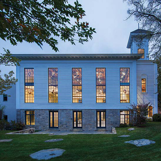 Exterior of former sanctuary that boasts 20-foot-high Marvin windows that feature portraits of artists who had a connection to Sag Harbor.