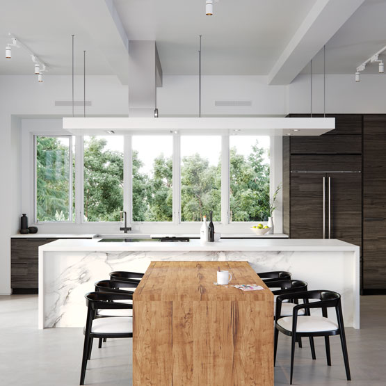 Open concept kitchen with large Marvin Windows