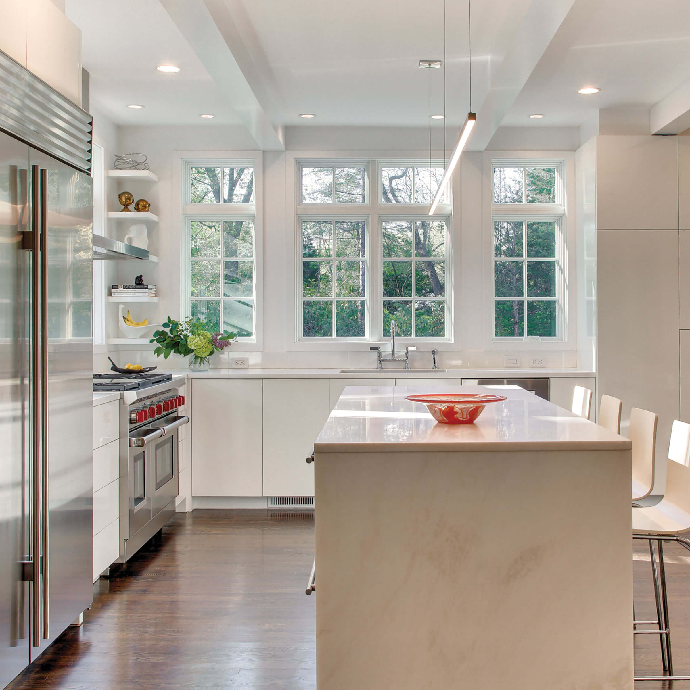 White Kitchen With Marvin Elevate Casement Narrow Frame Windows