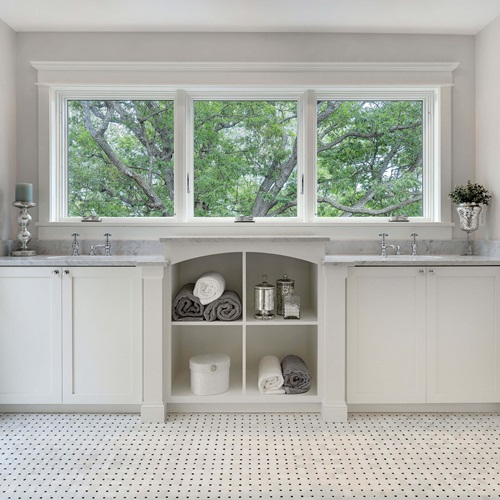 Bathroom With Marvin Elevate Casement Narrow Frame Window Above Sinks