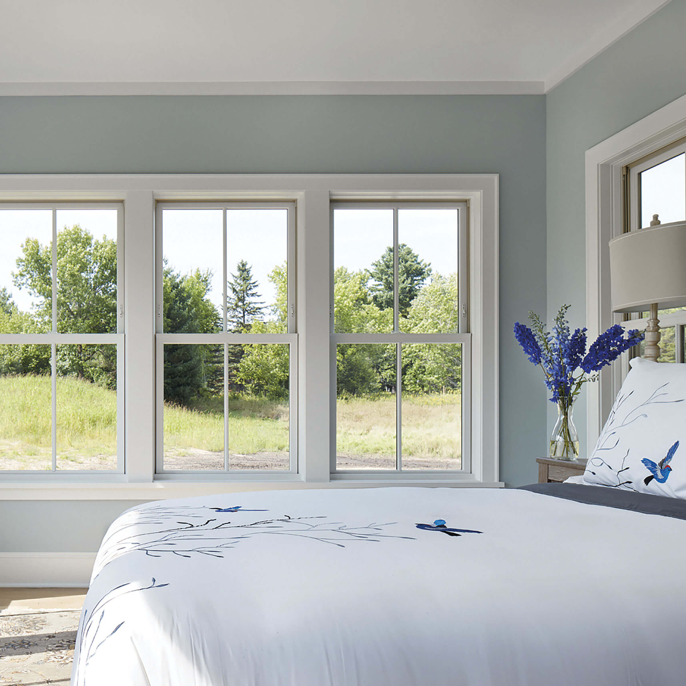 Bright Bedroom With Marvin Elevate Double Hung Windows