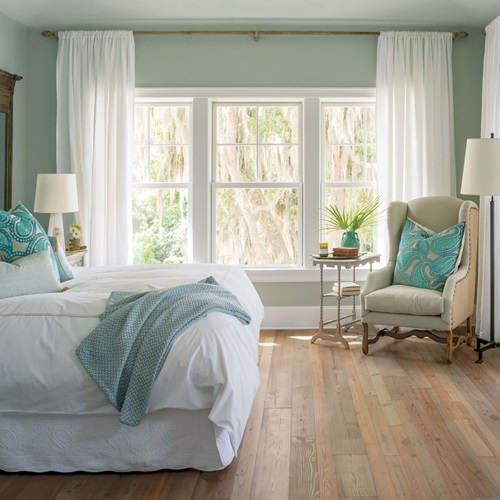 Cozy Bedroom With Marvin Elevate Double Hung Windows