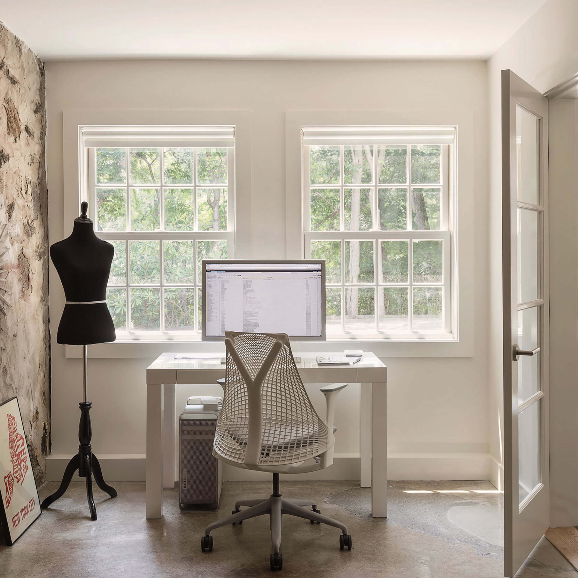 Home Office With Marvin Elevate Double Hung Insert Windows