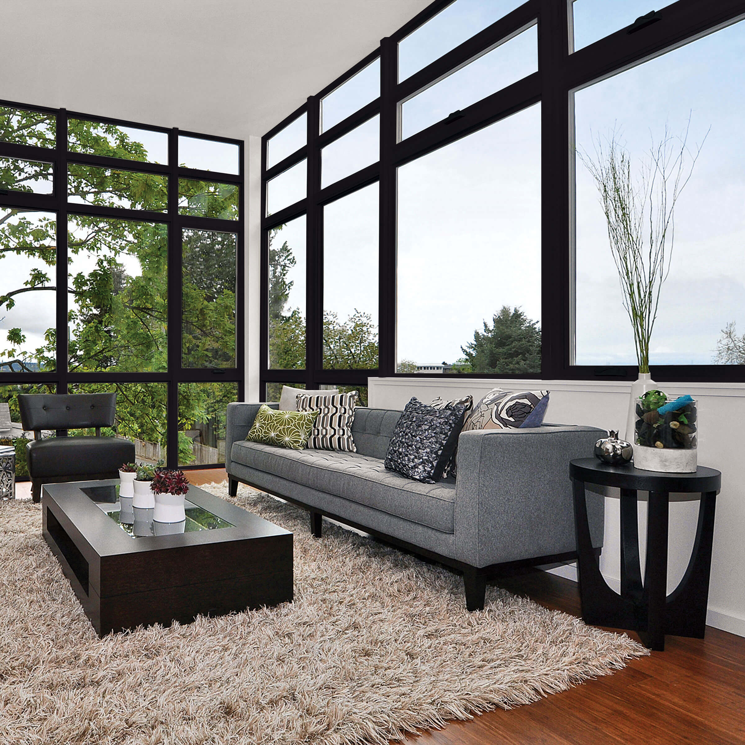 Modern Living Room With Marvin Essential Awning Windows In Ebony