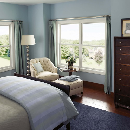 Blue Bedroom With Marvin Essential Double Hung Windows