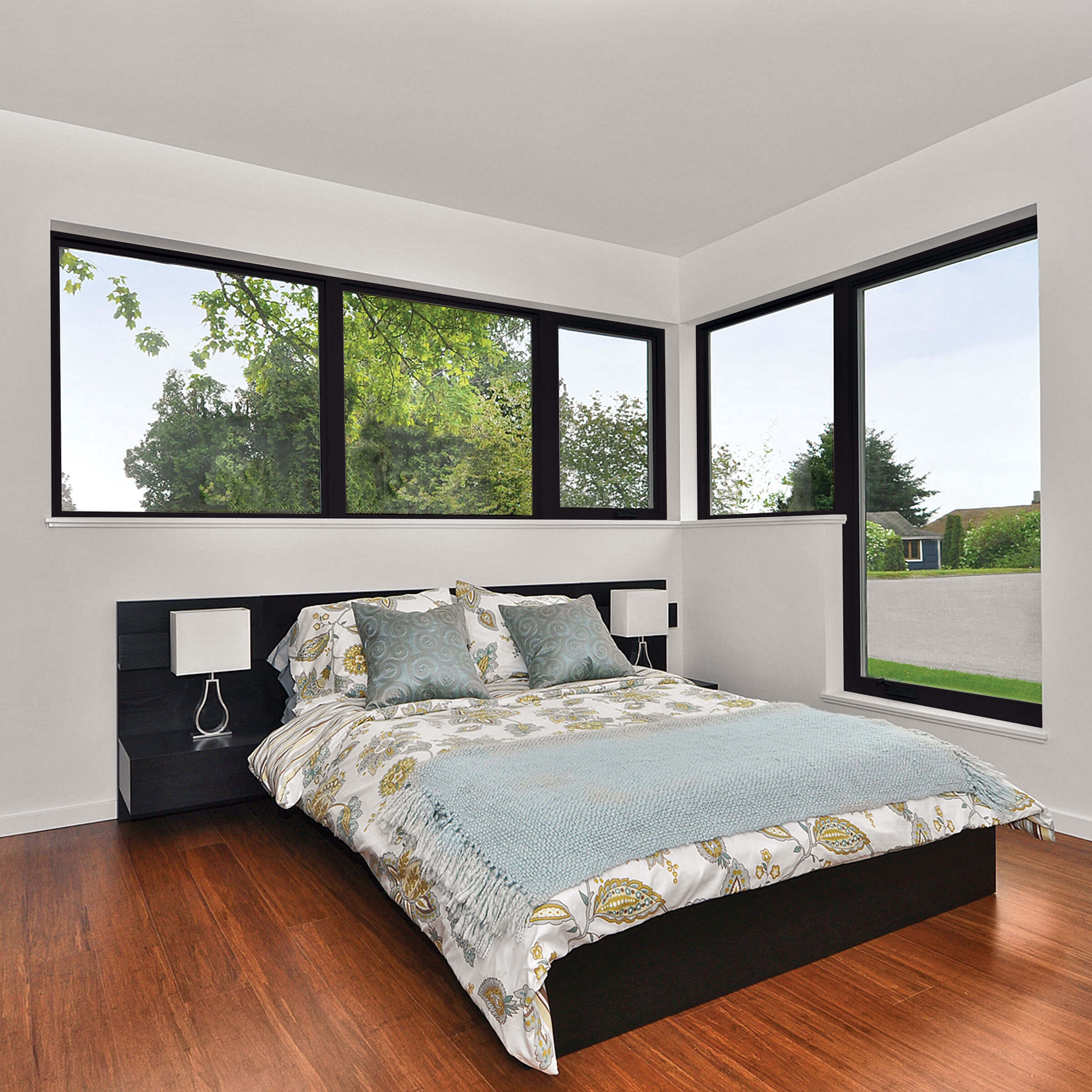 Bedroom With Marvin Essential Picture Windows In Ebony