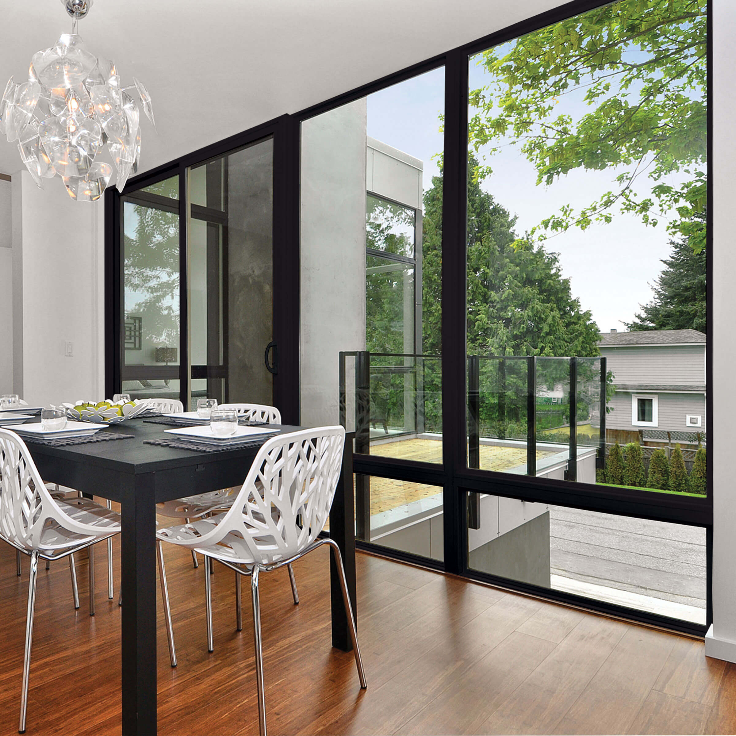 Dining Room With Large Marvin Essential Sliding Patio Door In Ebony