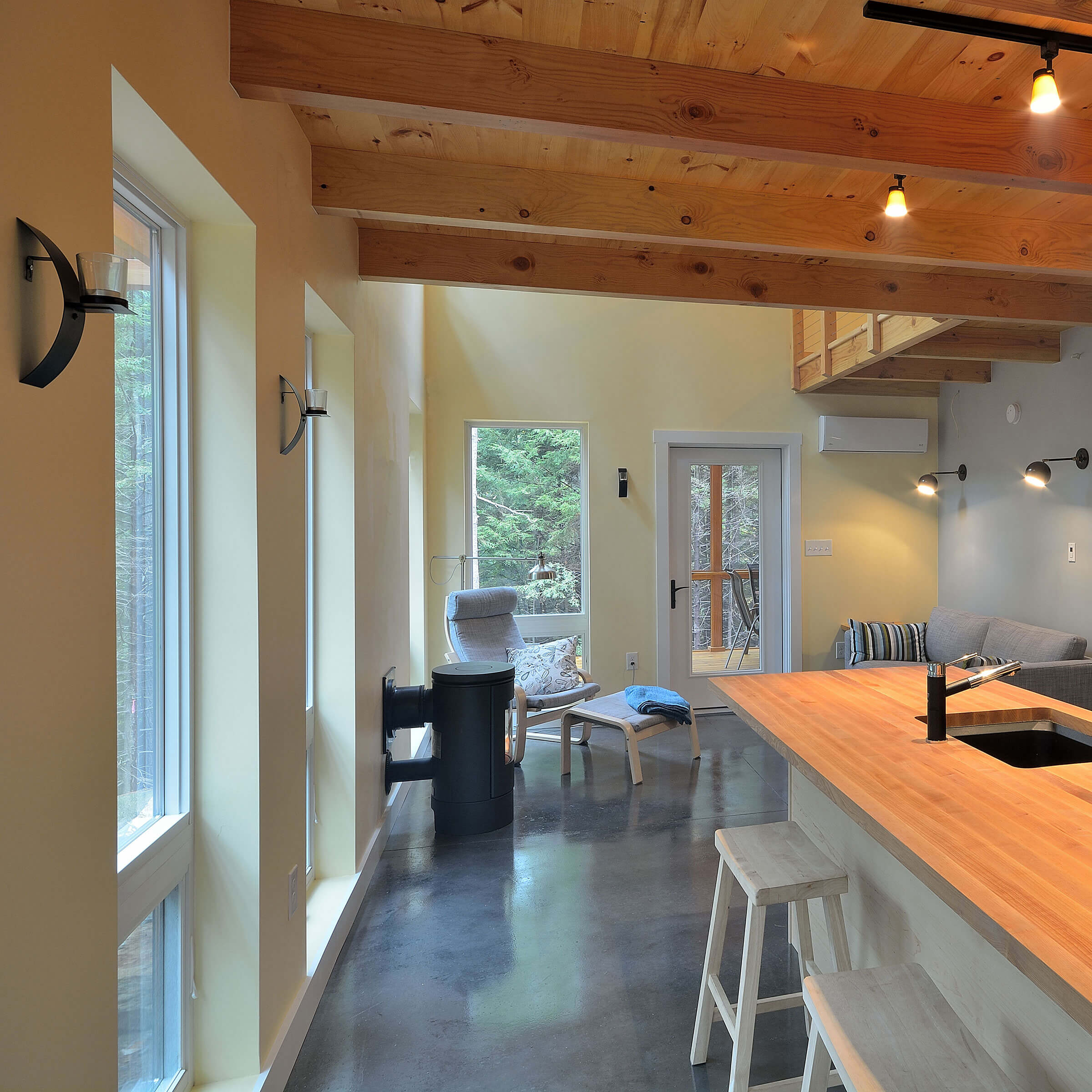 Kitchen In Contemporary Cabin With Marvin Essential Windows