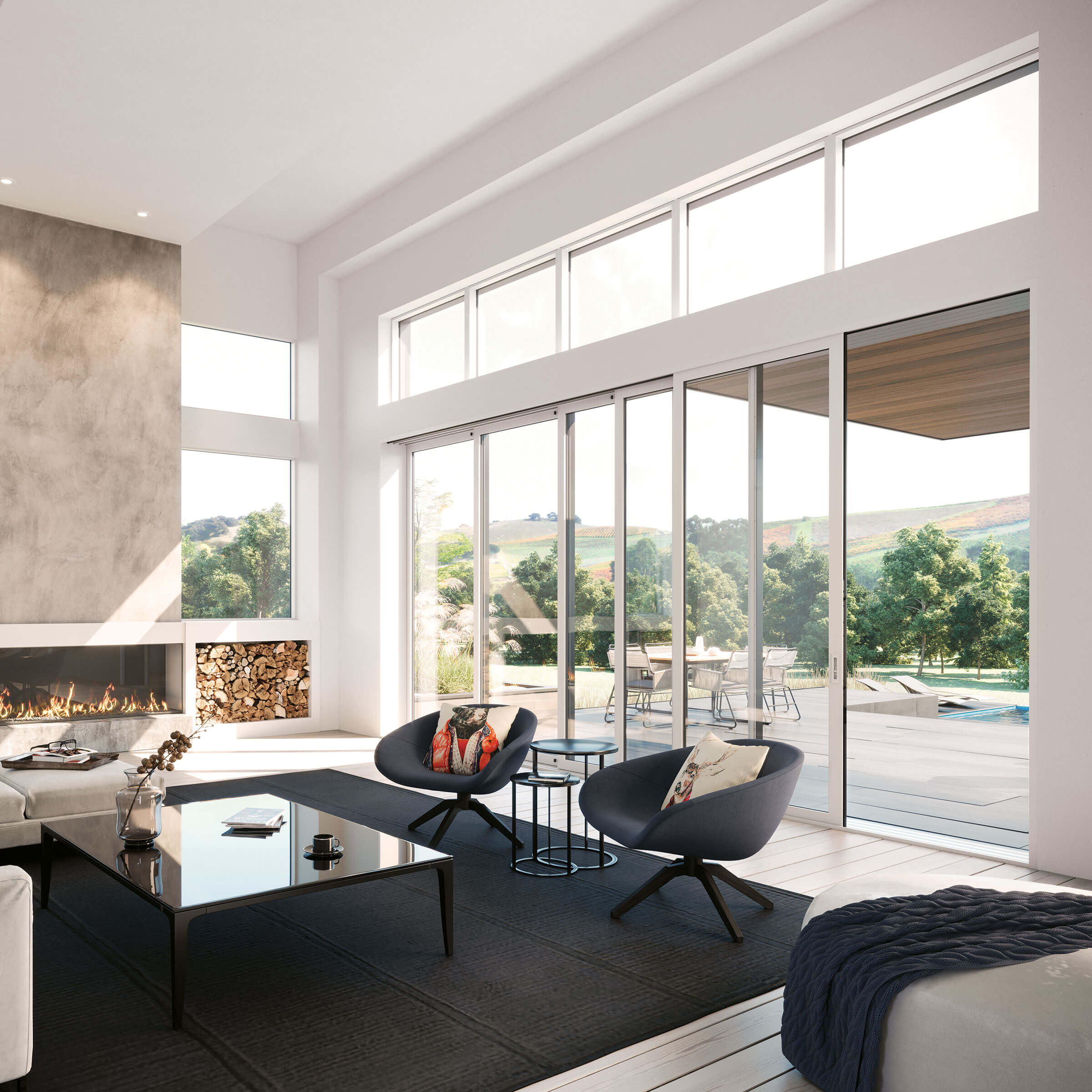 Large Modern Living Room with Signature Modern Multi-Slide Door