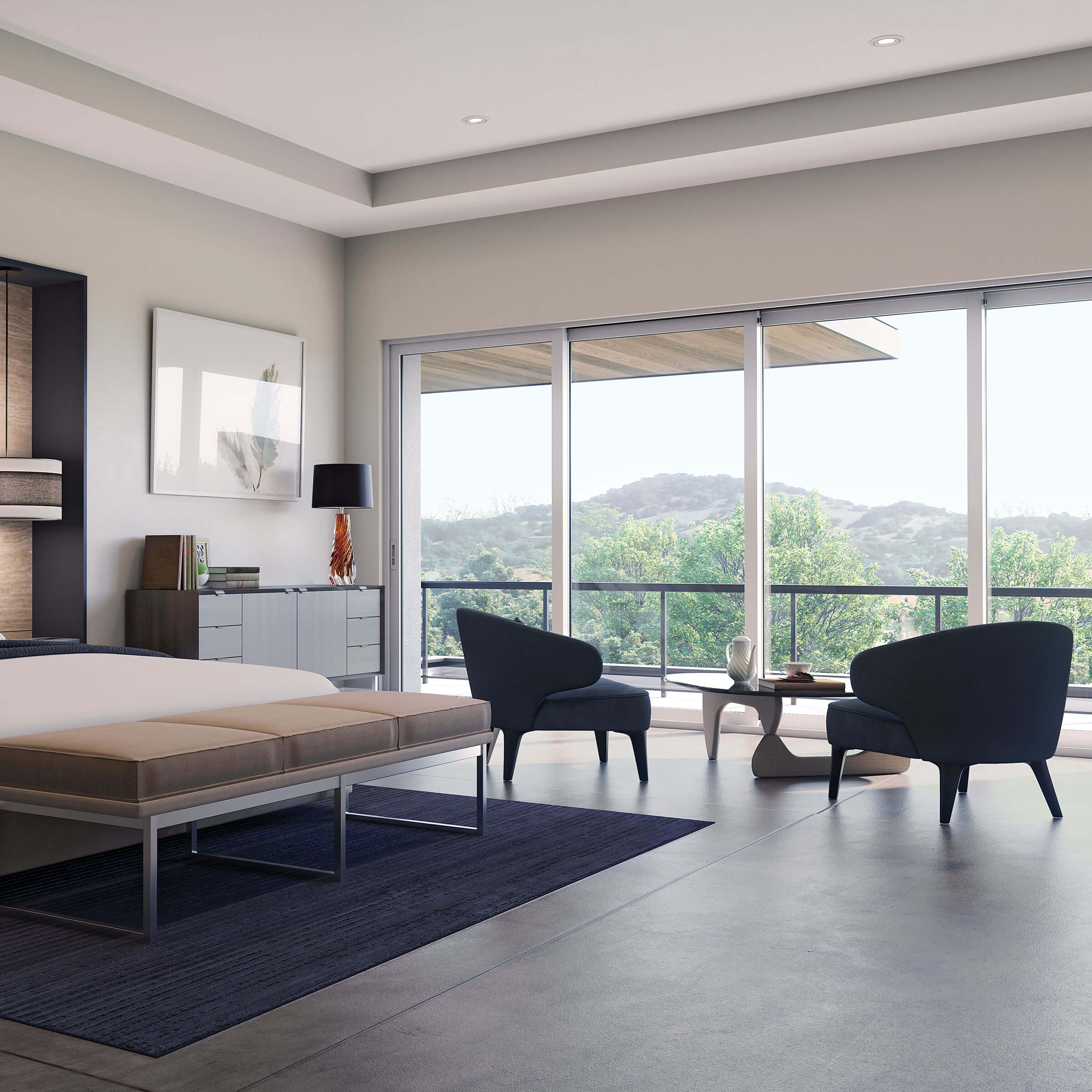 Modern Bedroom With Signature Modern Multi-Slide Door