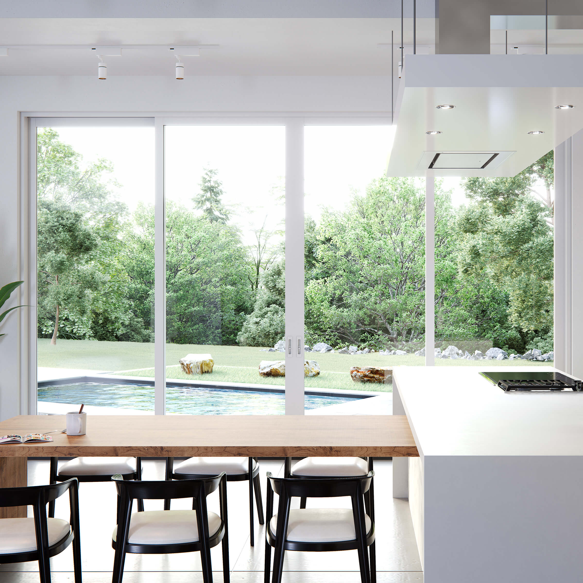 Bright Modern Kitchen With Signature Modern Multi-Slide Doors