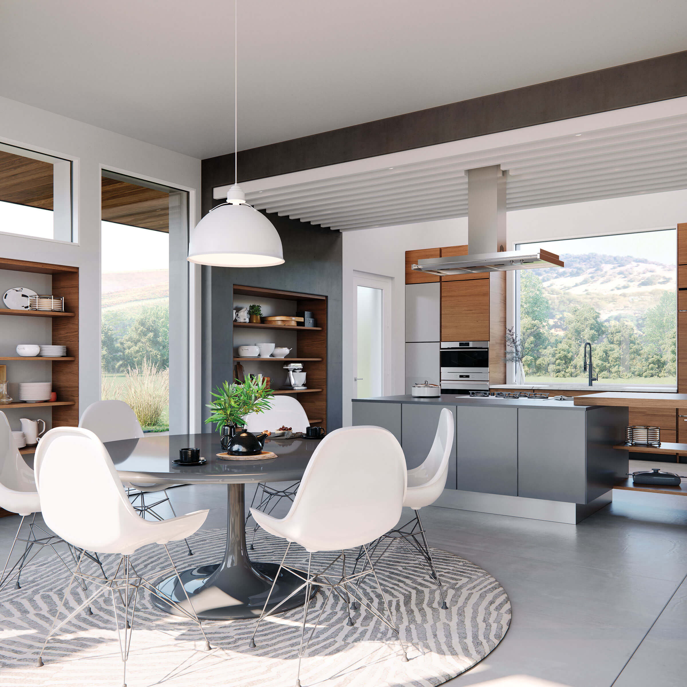 Large Modern Kitchen With Signature Modern Picture Windows