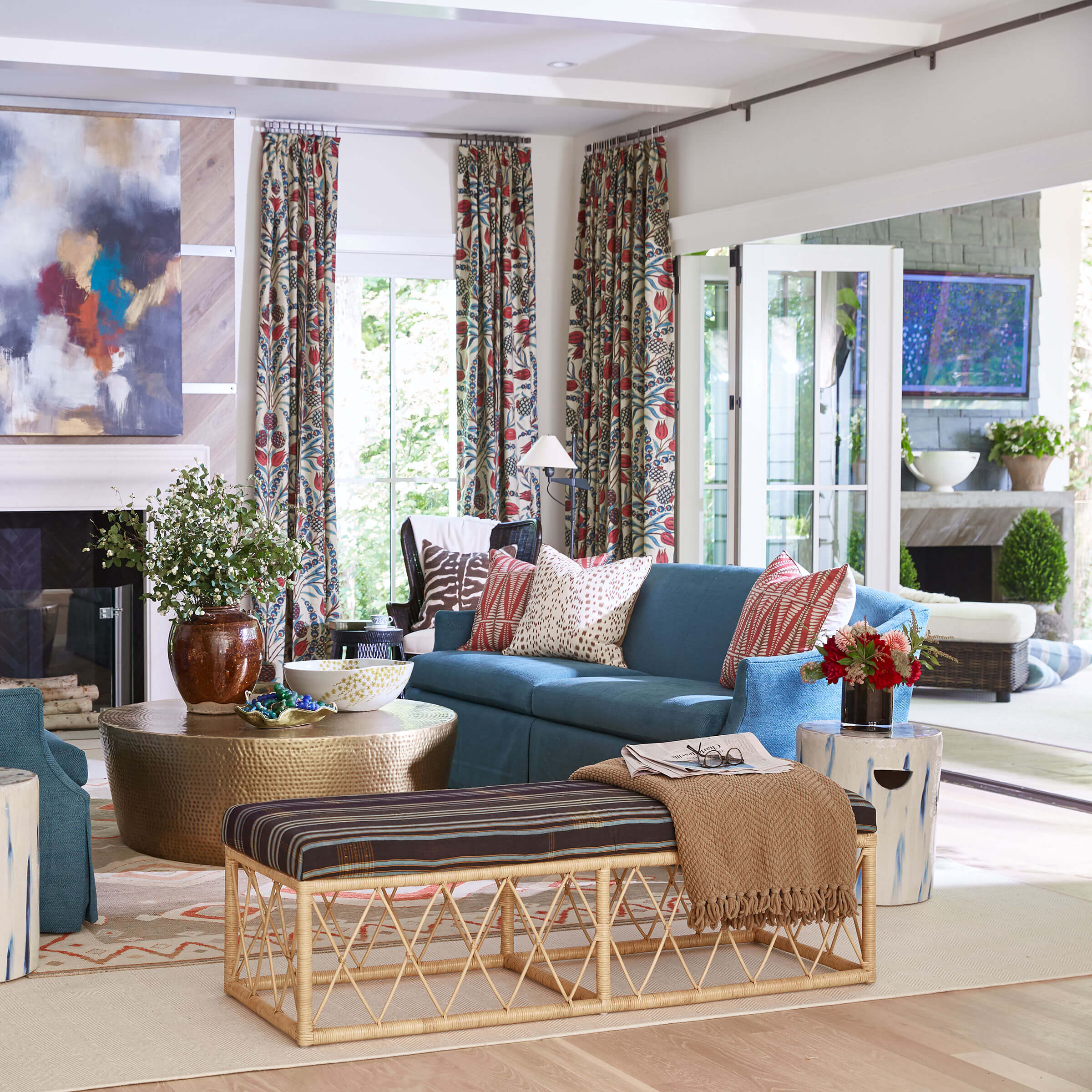 Colorful Living Room With Signature Ultimate Bi-Fold Door