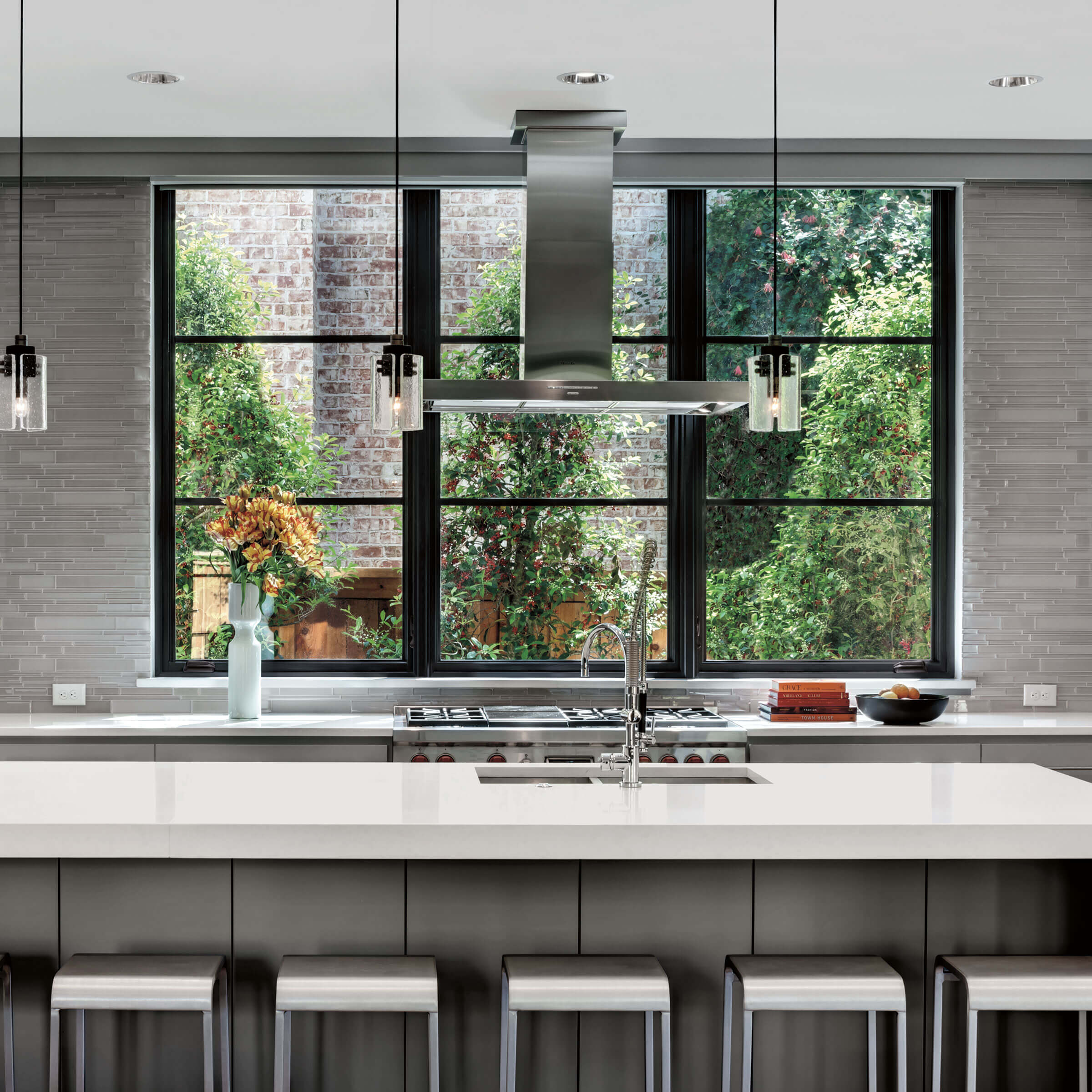 Contemporary Kitchen With Signature Ultimate Casement Narrow Frame Windows