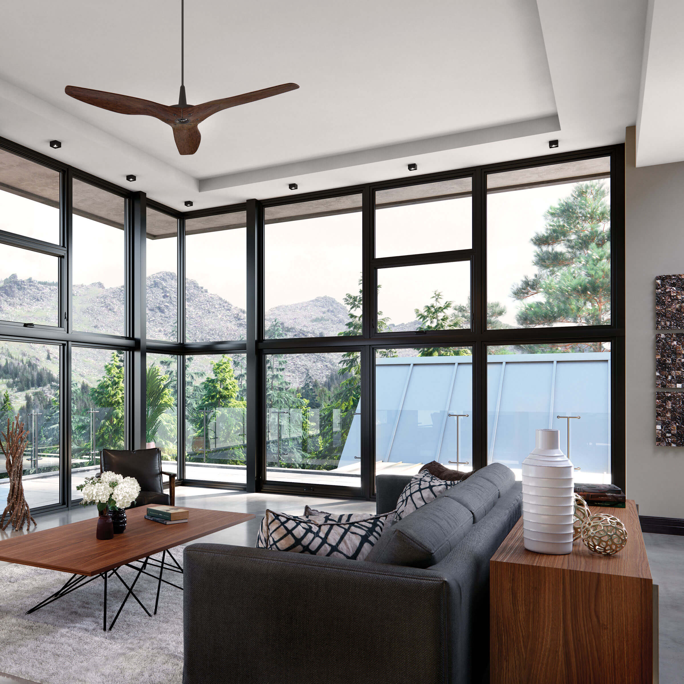 Contemporary Black Window Frame Living