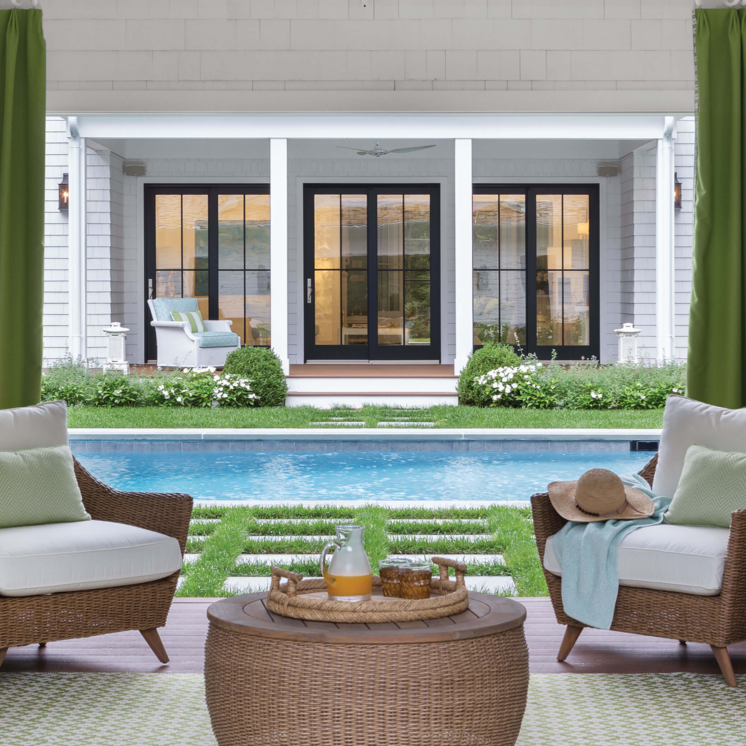 Poolside Exterior View Of Signature Ultimate Sliding French Door