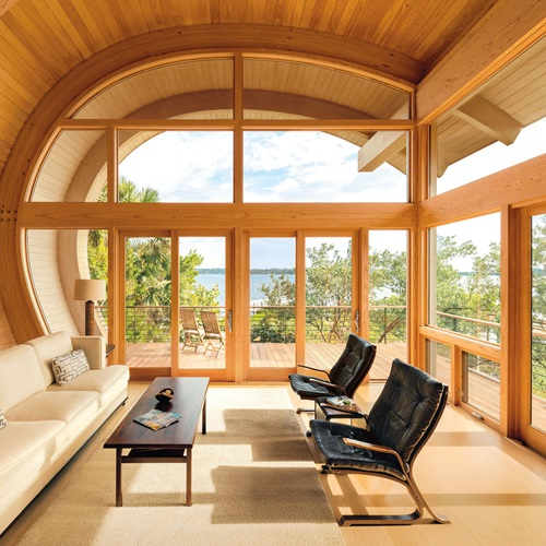 Unique Living Room With Curved Ceiling And Signature Ultimate Specialty Shapes Windows