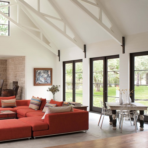 Vaulted Living Room With Signature Ultimate Swinging French Doors