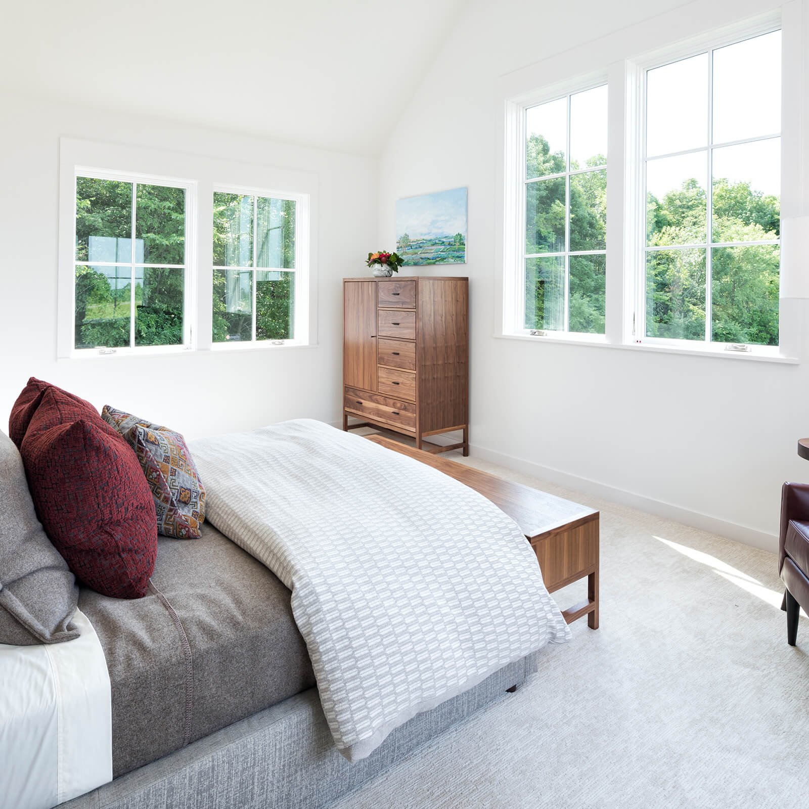 Bedroom with Marvin Elevate Casement Windows and Elevate Awning Windows
