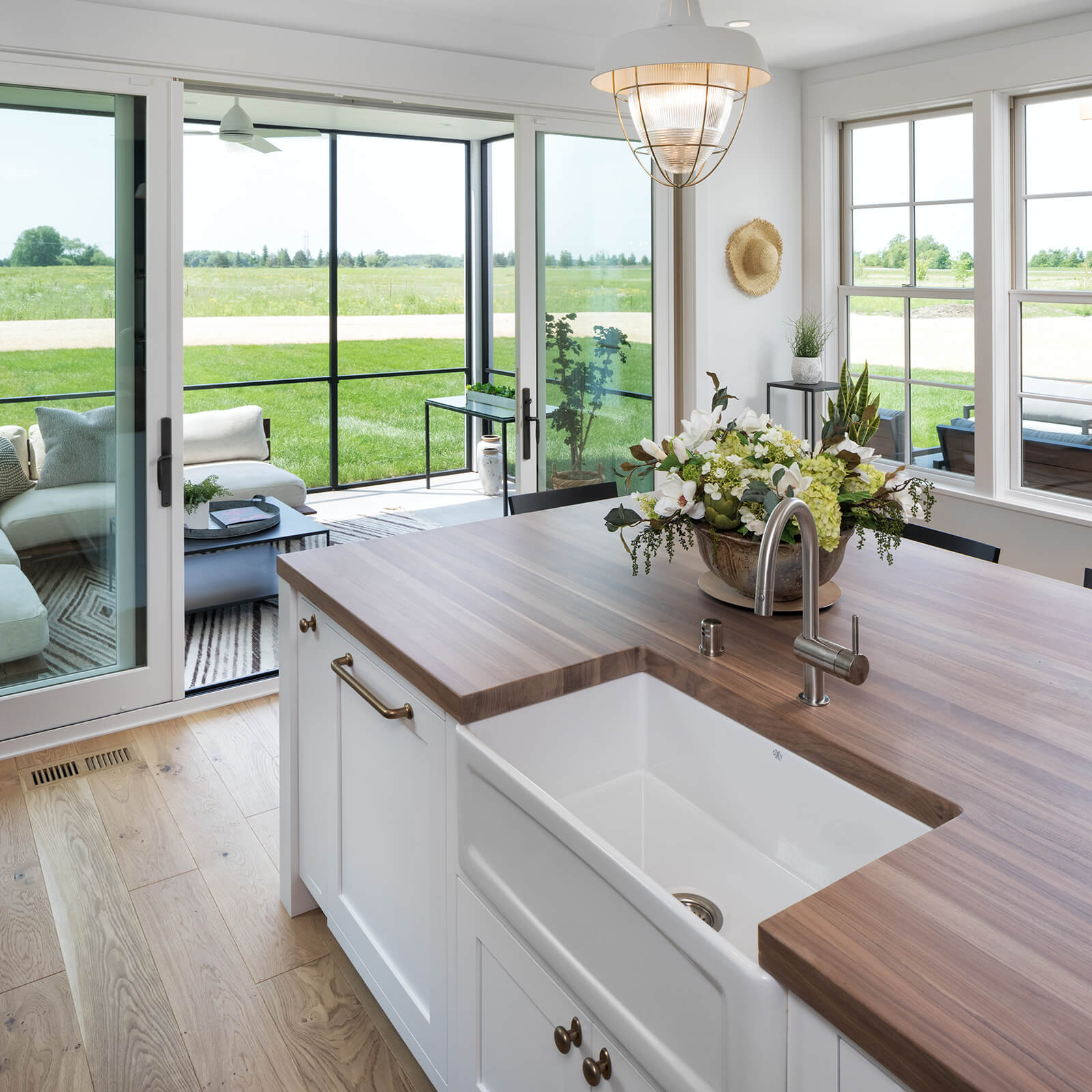 Open concept kitchen with Marvin Elevate Double Hung Windows