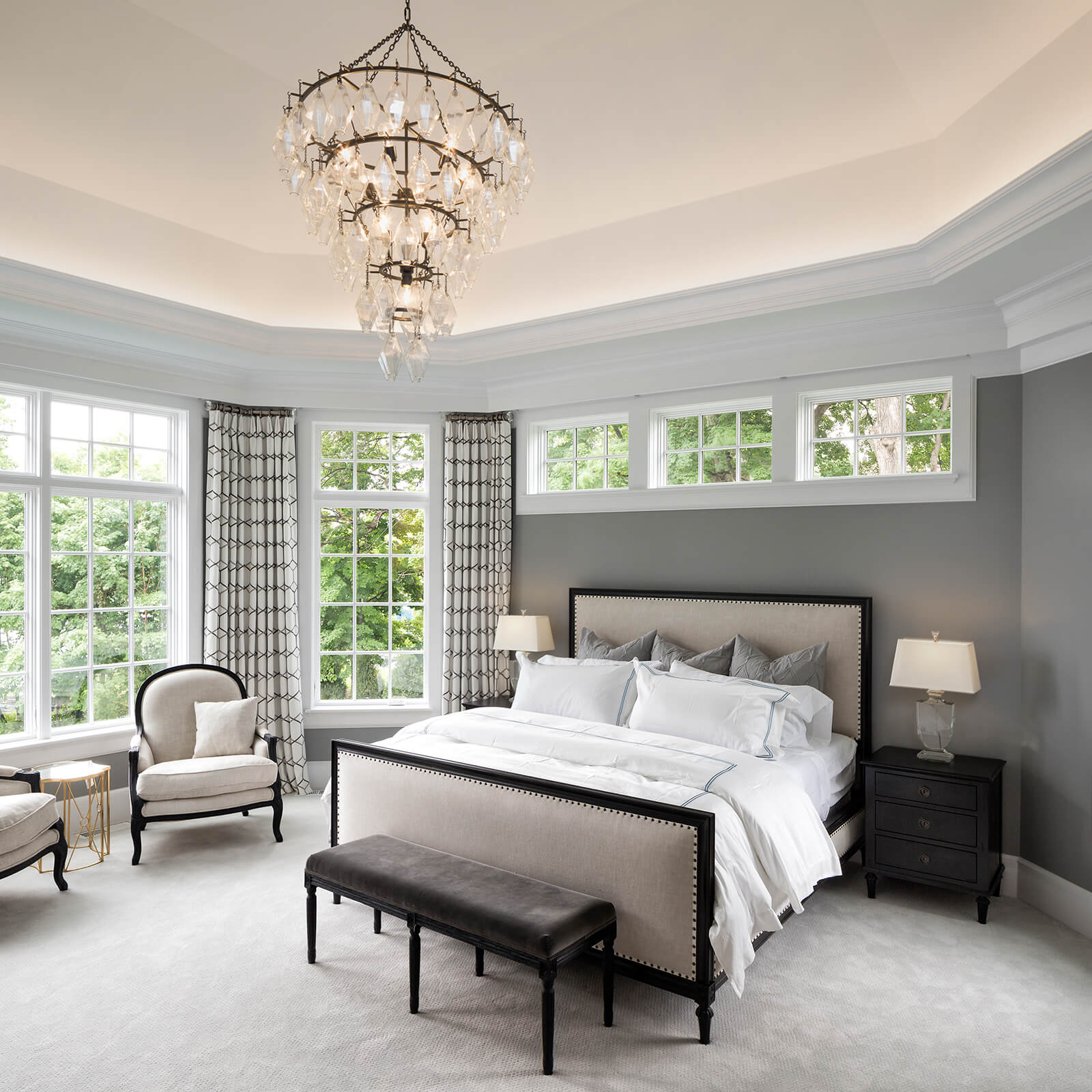 Large Master Bedroom with Marvin Elevate Casement Windows and Elevate Picture Windows