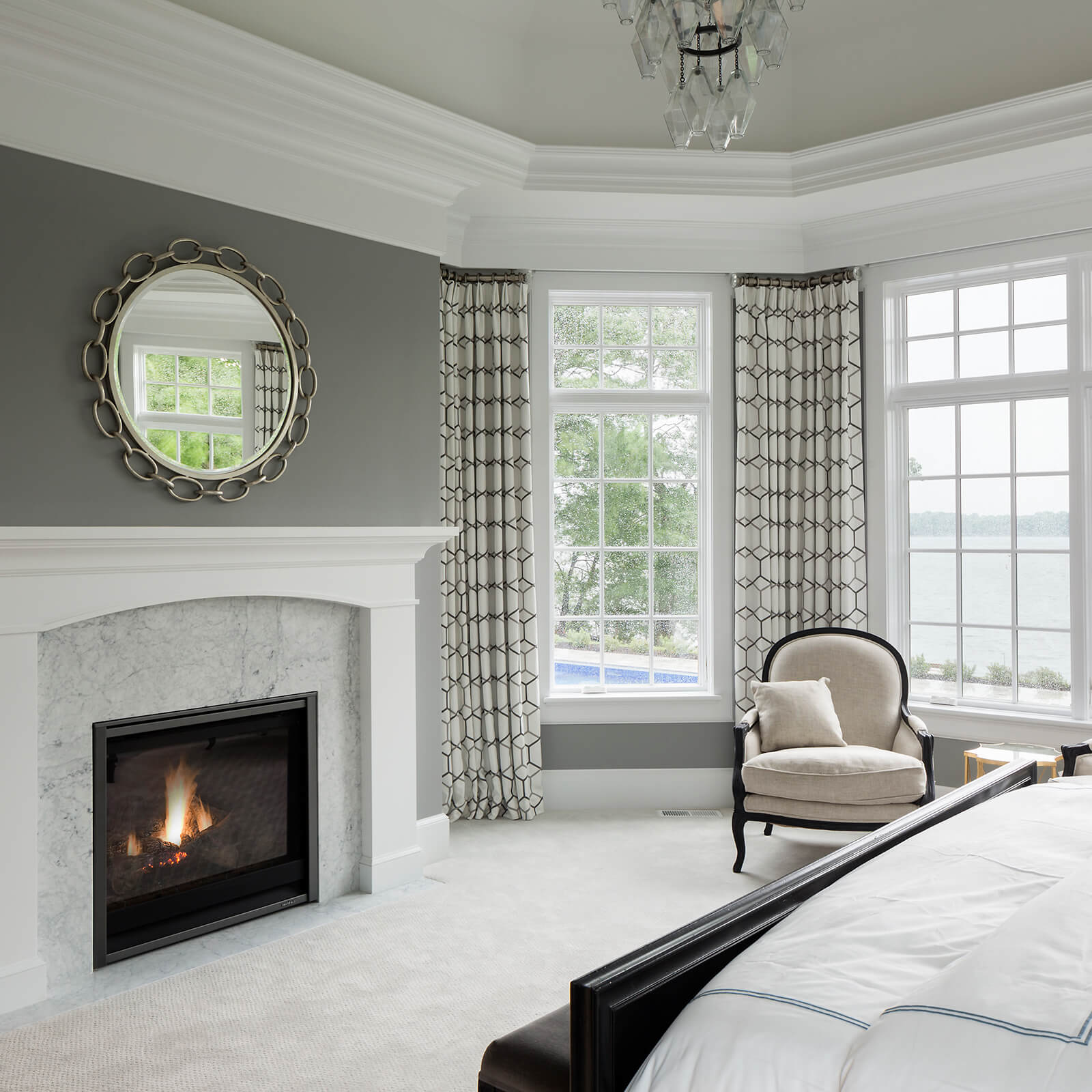 Bedroom with Marvin Elevate Casement Windows and Elevate Picture Windows