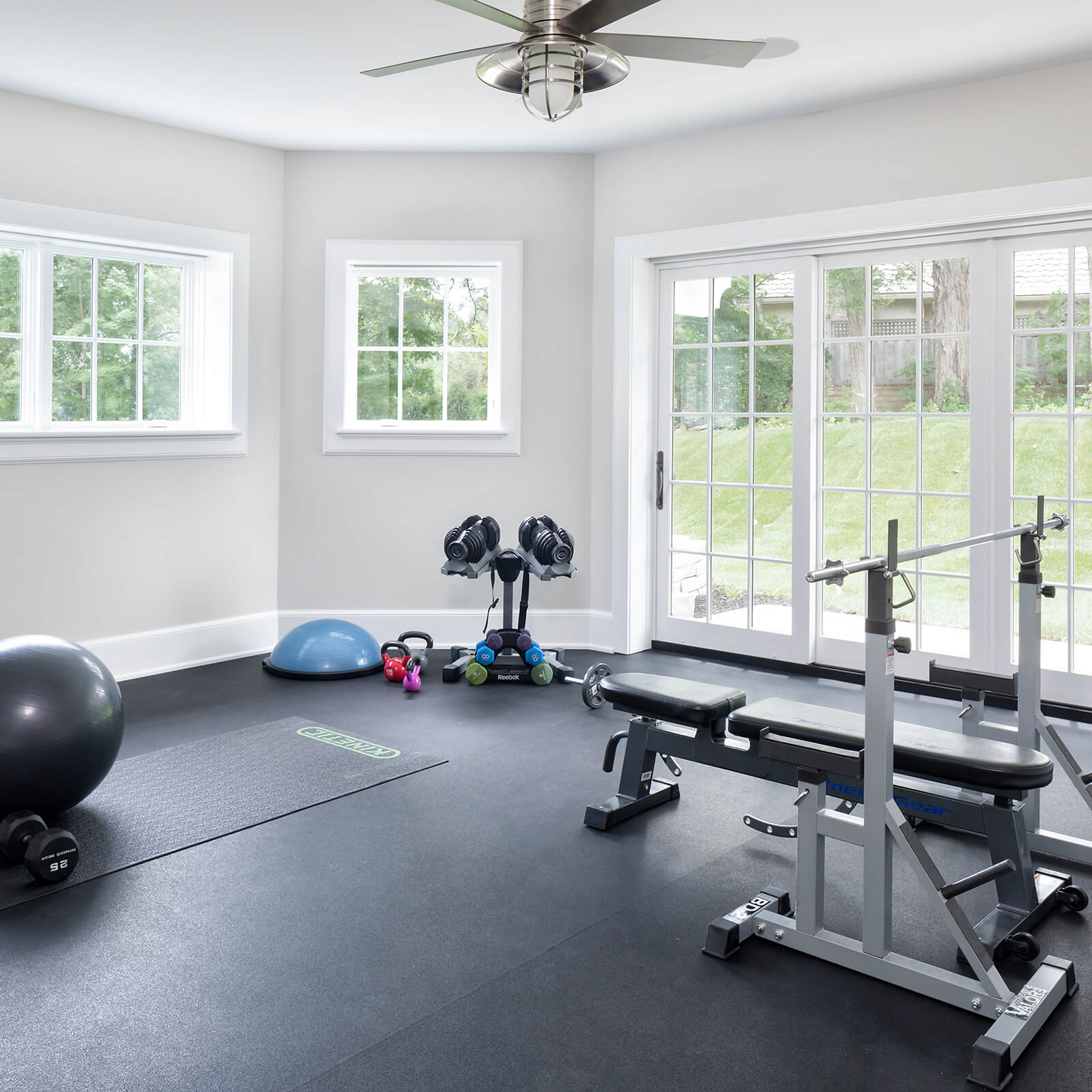 Exercise room with Marvin Elevate Casement Windows and Elevate Sliding French Door