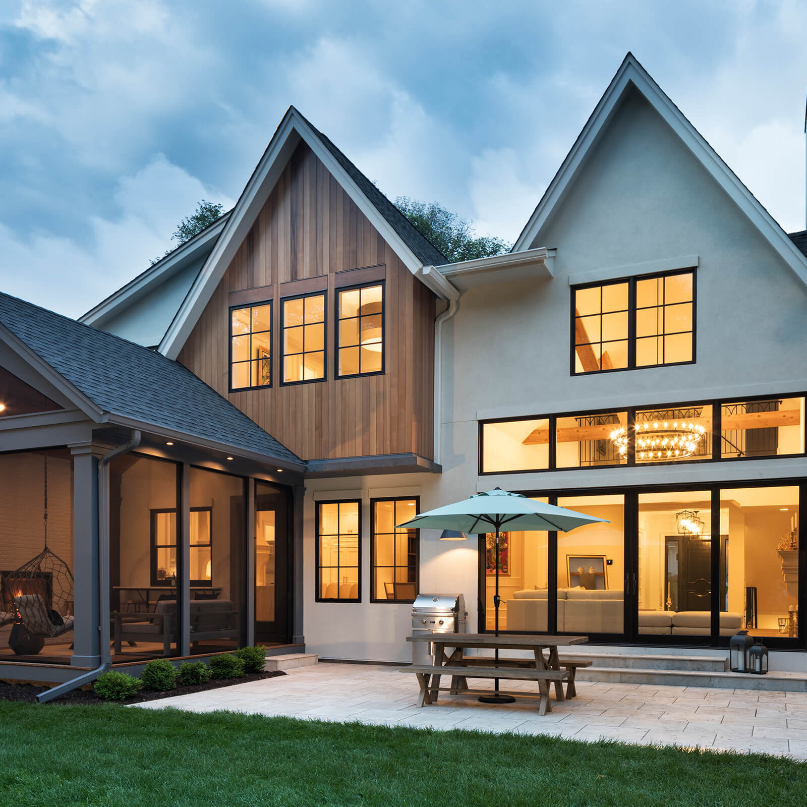 Exterior of modern traditional home with Marvin Elevate Sliding French Door and Elevate Casement Windows