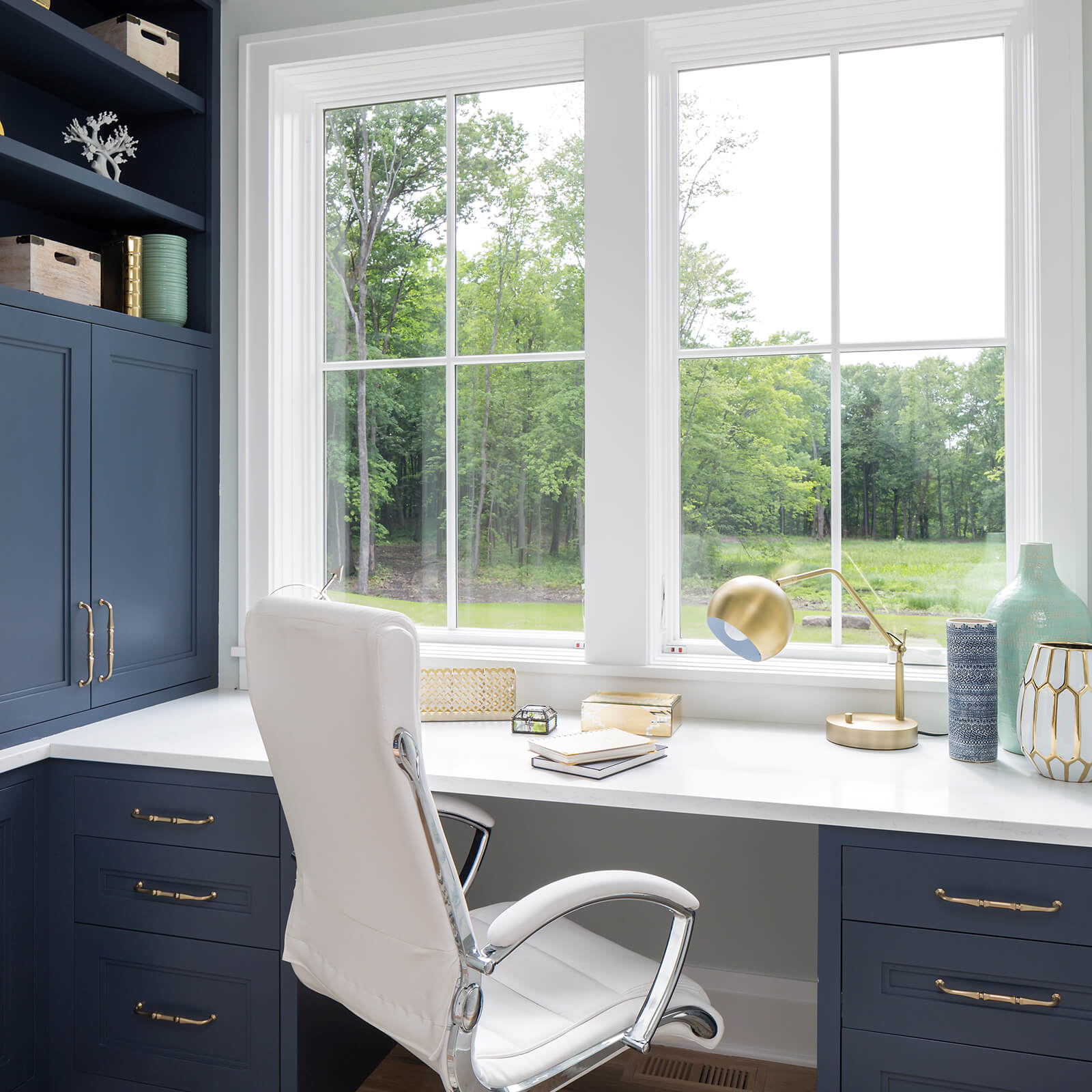 Office desk area with Marvin Elevate Casement Window