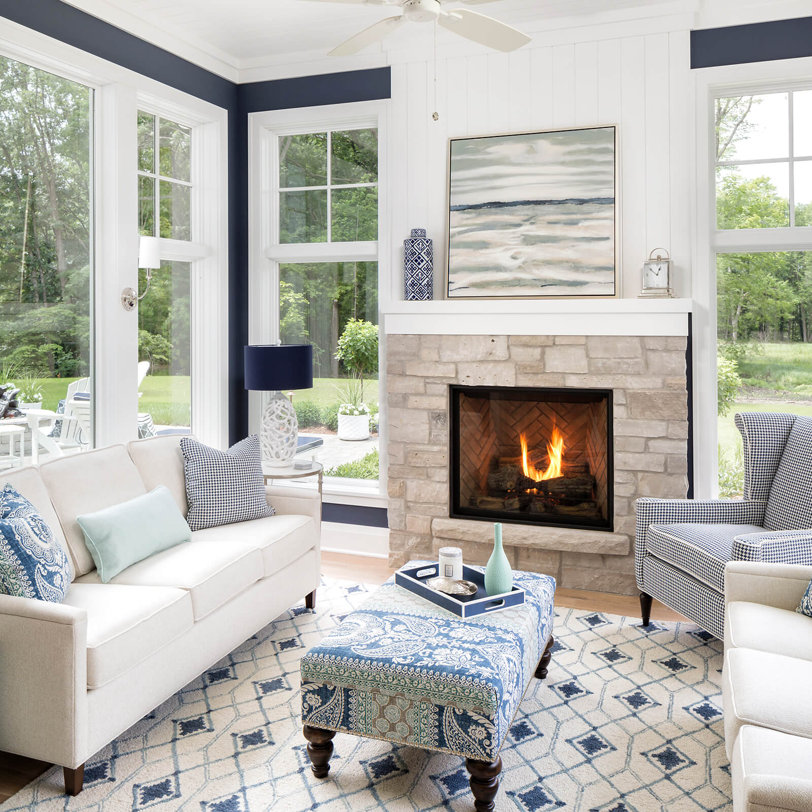 Cozy living room with Marvin Elevate Casement Windows and Elevate Direct Glaze Windows