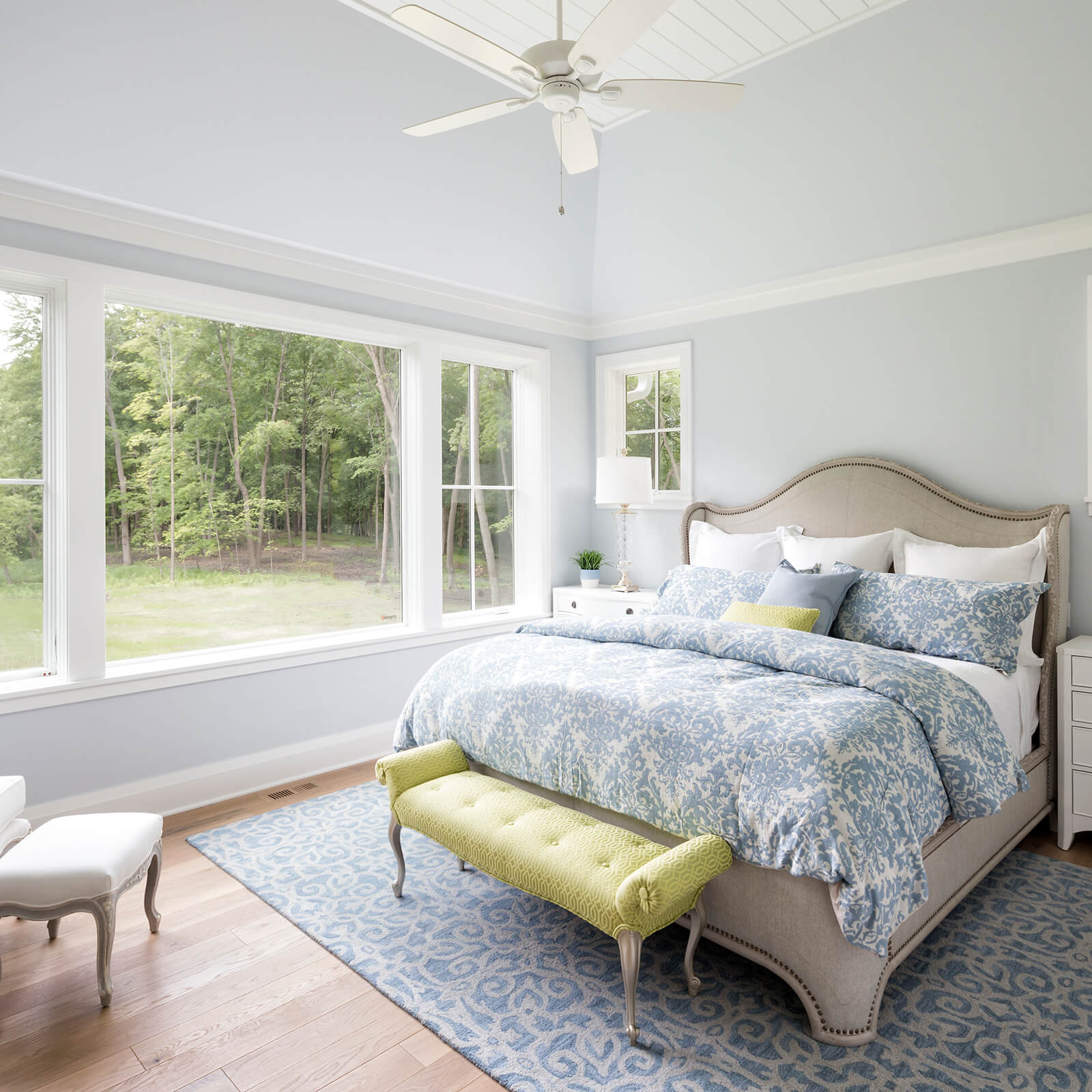 Bedroom with high ceilings with Marvin Elevate Casement and Direct Glaze Windows