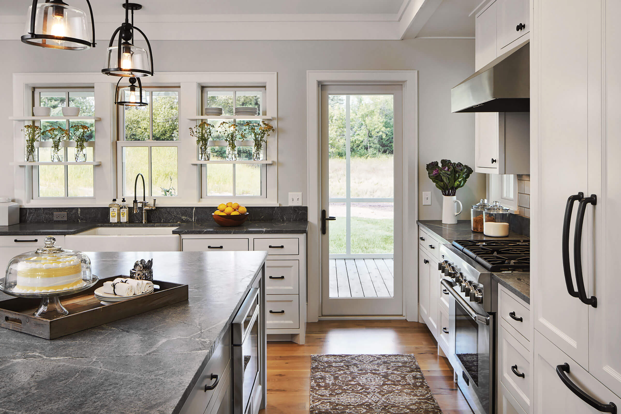 White Kitchen With Marvin Elevate Swinging French Door