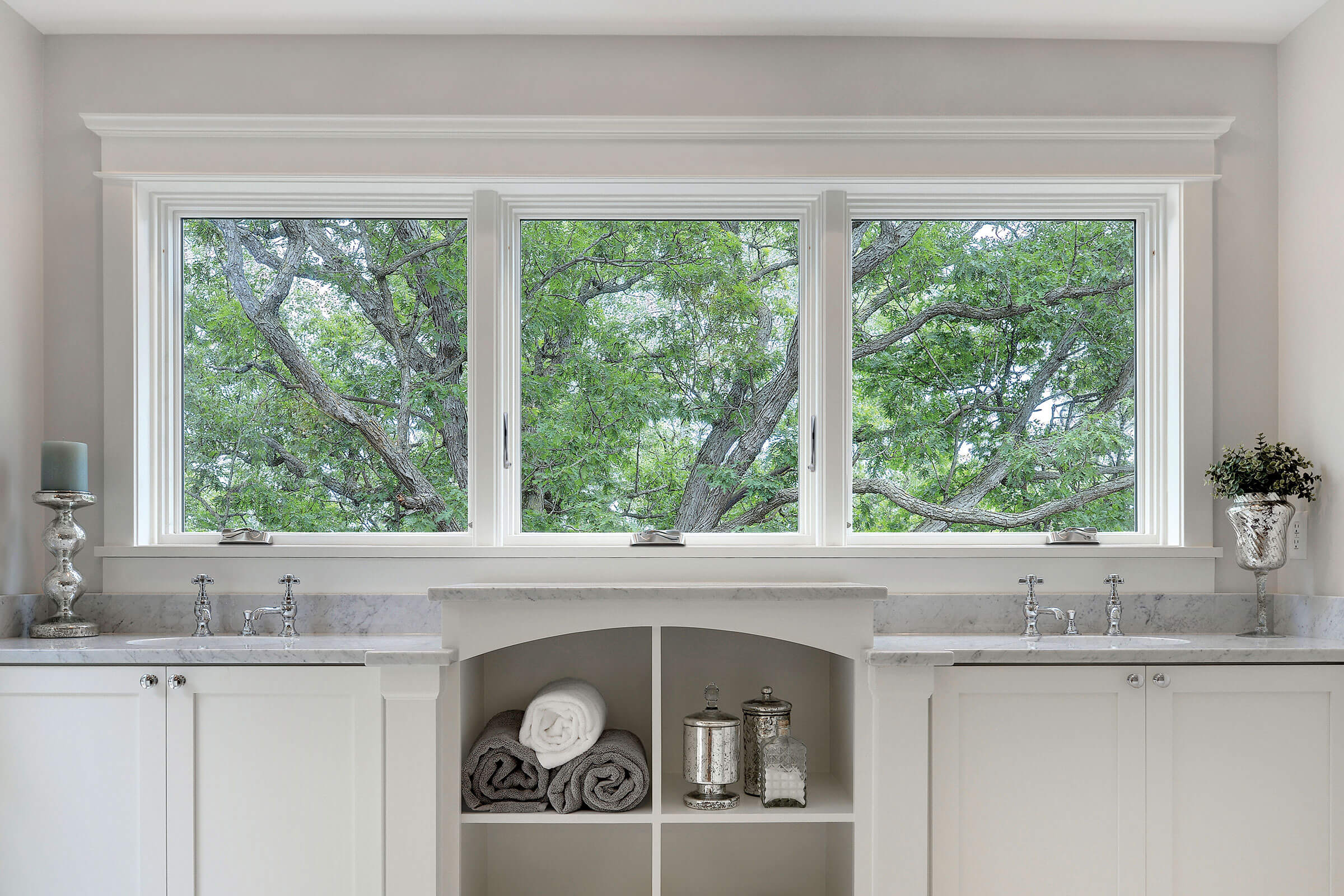 Bathroom With Marvin Elevate Awning Narrow Frame Window Above Sinks