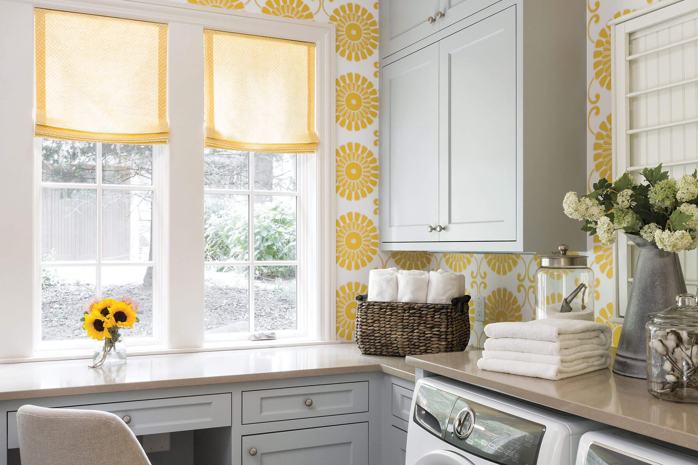 White And Yellow Laundry Room With Marvin Elevate Casement Windows