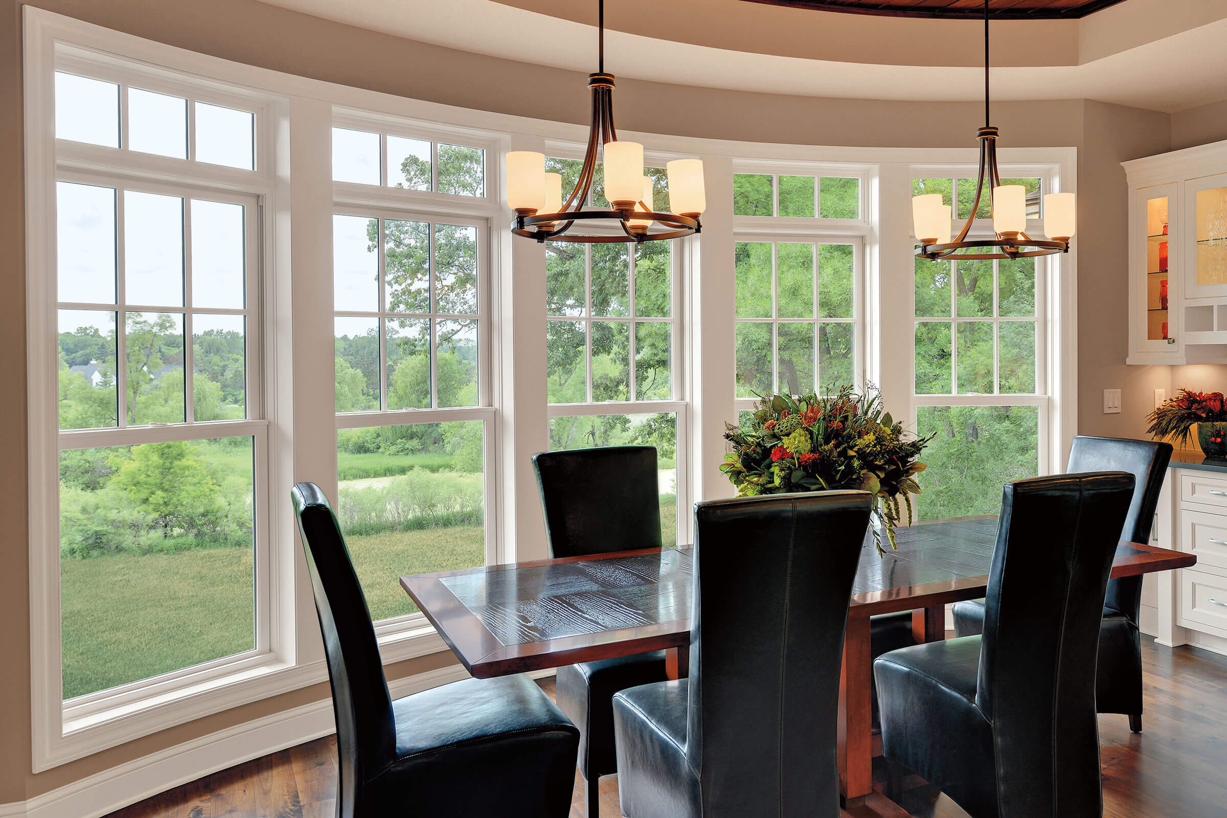Large Dining Room With Marvin Elevate Double Hung Windows