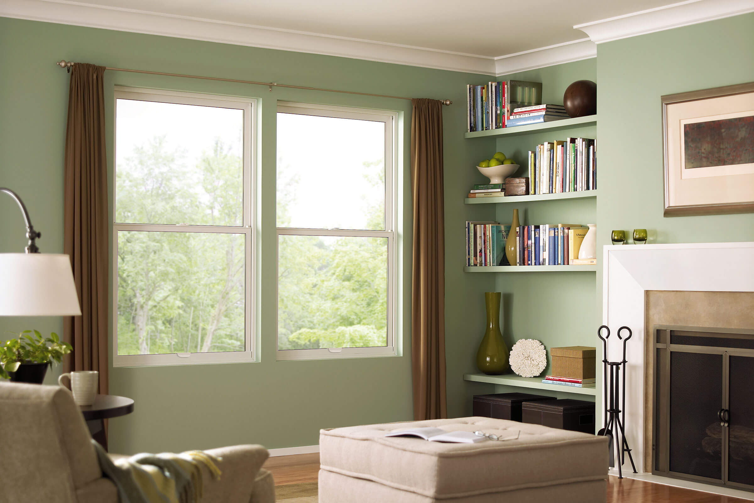 Living Room With Marvin Essential Single Hung Window
