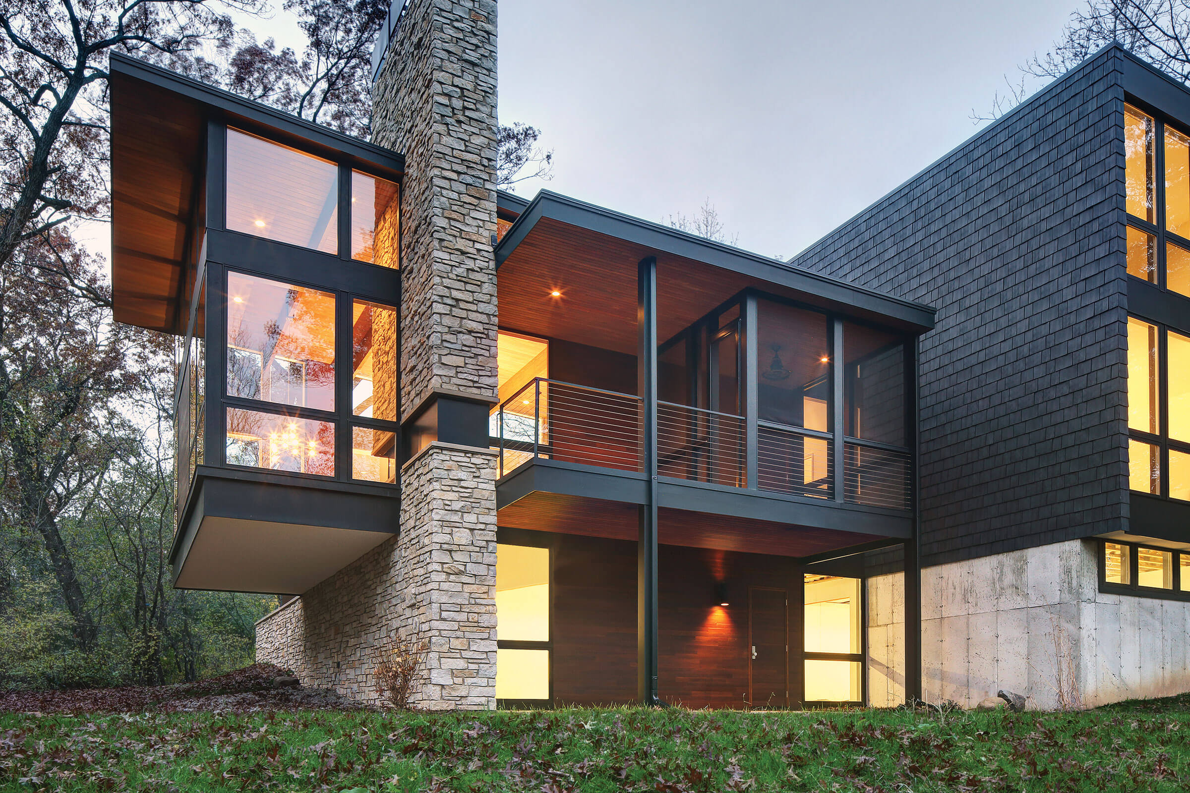 Exterior View Of Contemporary House With Marvin Essential Specialty Shapes Windows