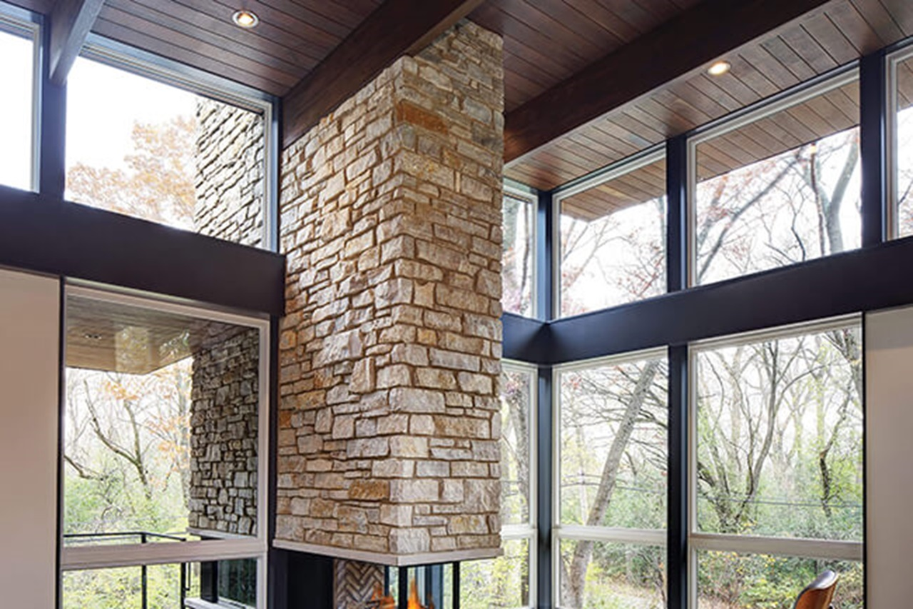 Room With High Ceiling And Marvin Essential Specialty Shapes Windows