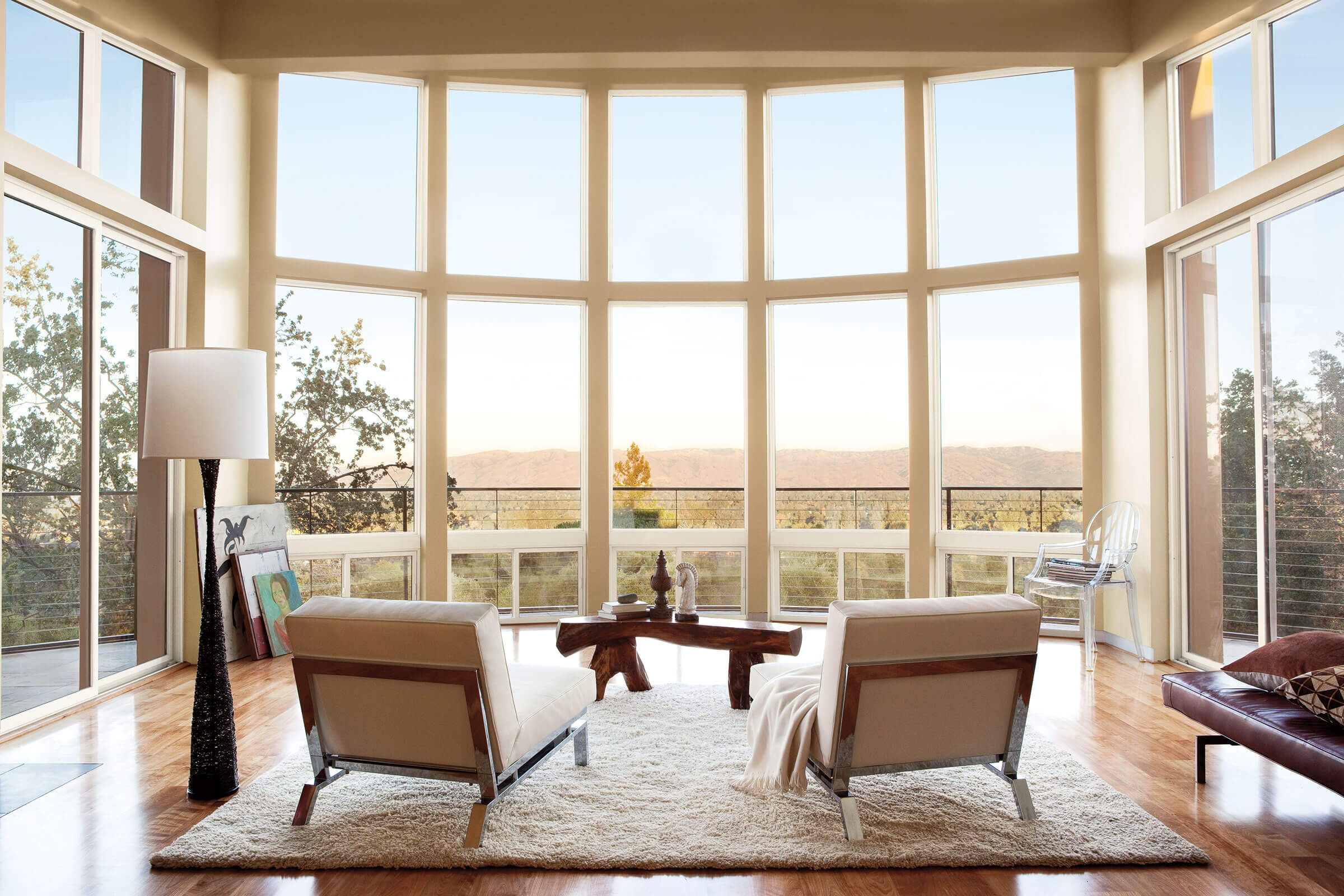 Warm Living Room With Marvin Essential Specialty Shapes Windows
