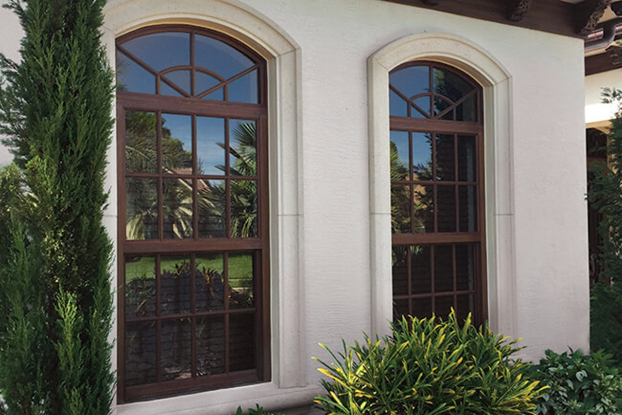Close up of Marvin Signature Coastline Single Hung and Round Top Narrow Frame Windows