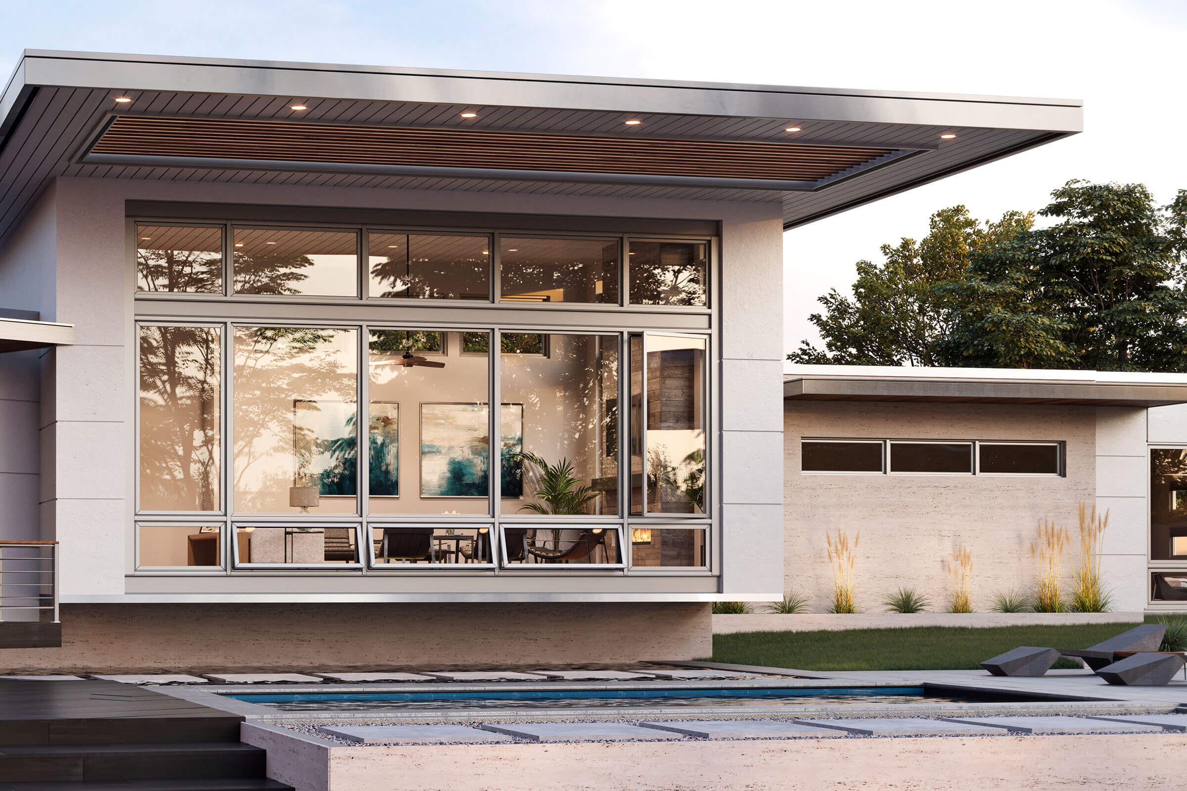 Exterior View Of Modern House With Signature Modern Casement Windows