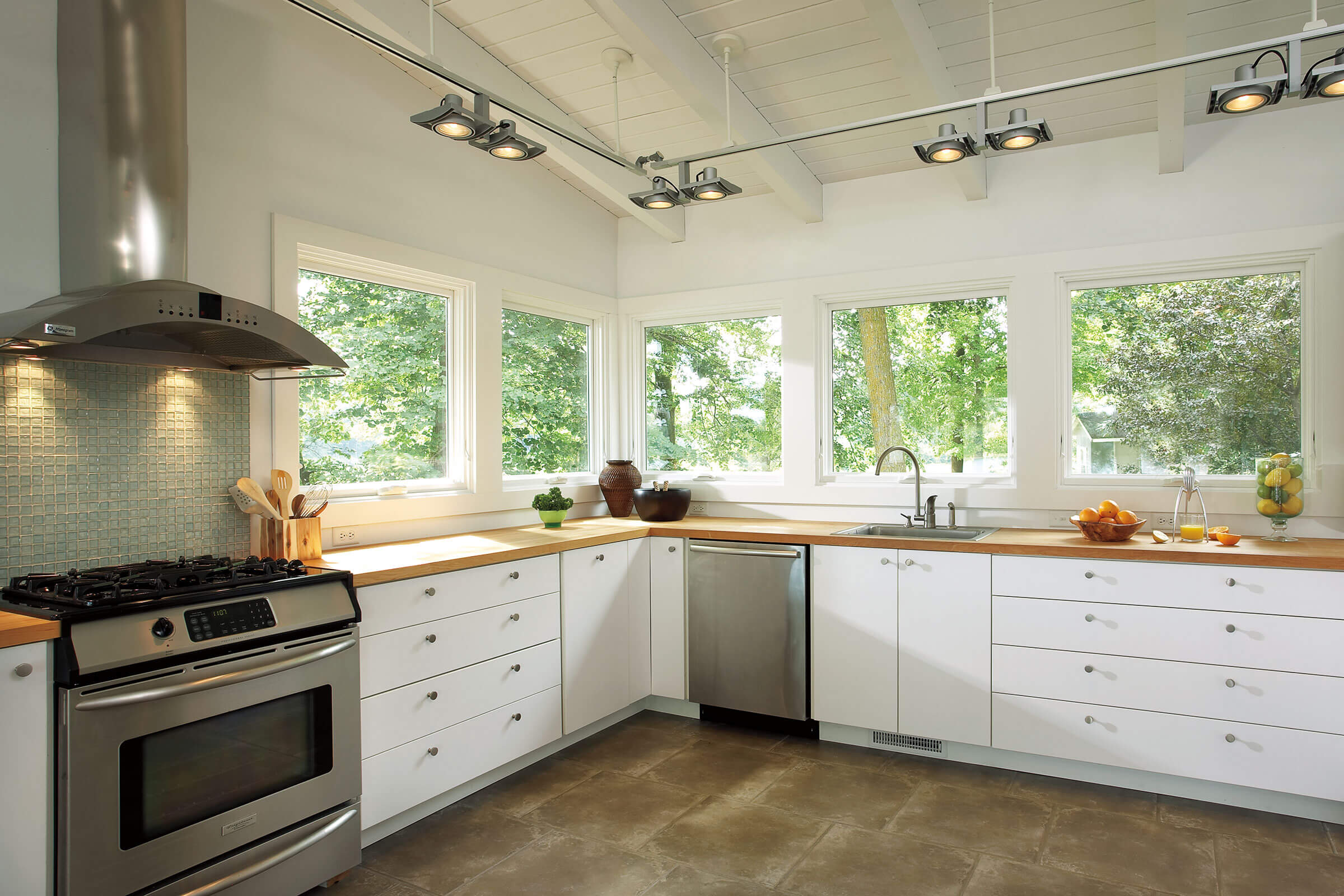 White Kitchen With Signature Ultimate Awning Narrow Frame Windows