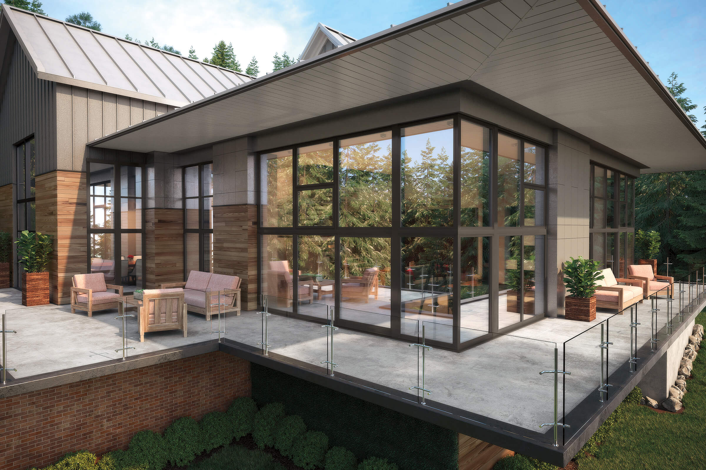 Patio And Exterior View Of House with Signature Ultimate Awning Push Out Narrow Frame Windows