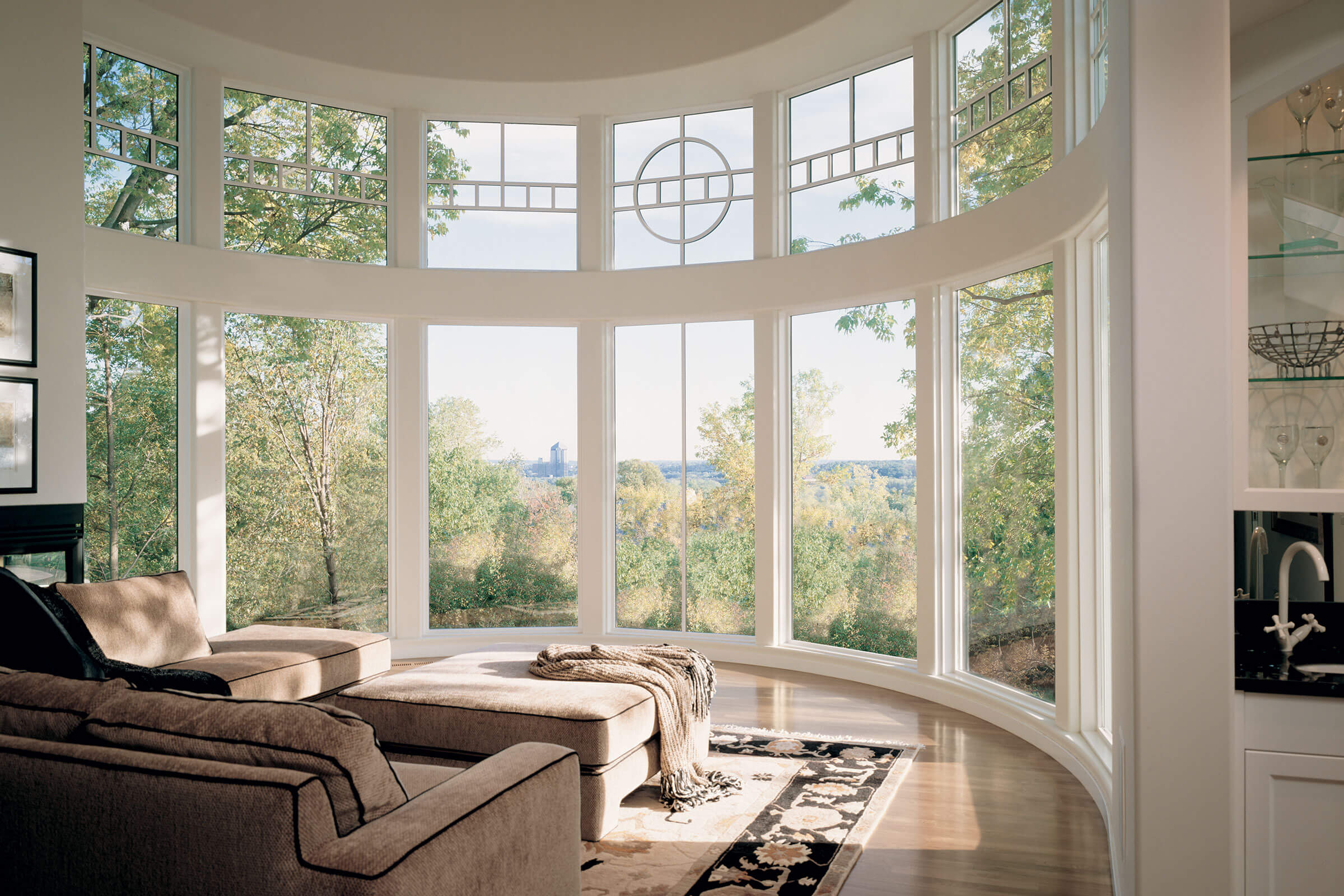 Living Room With Signature Bow Windows