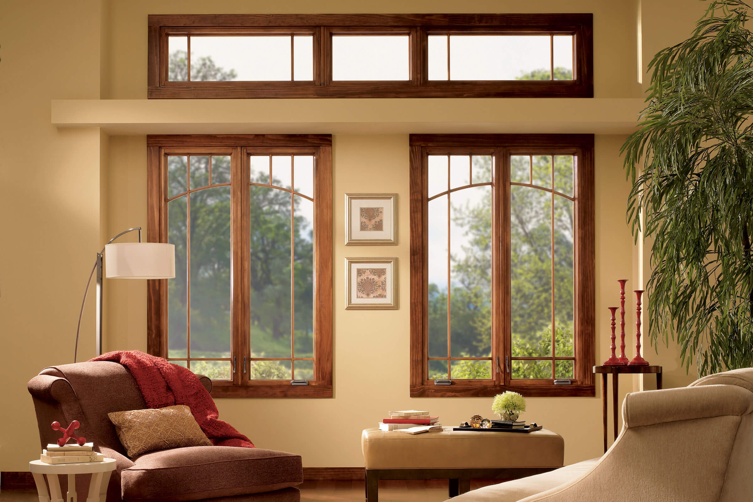 Interior View Of Living Room With Signature Ultimate Casement Narrow Windows