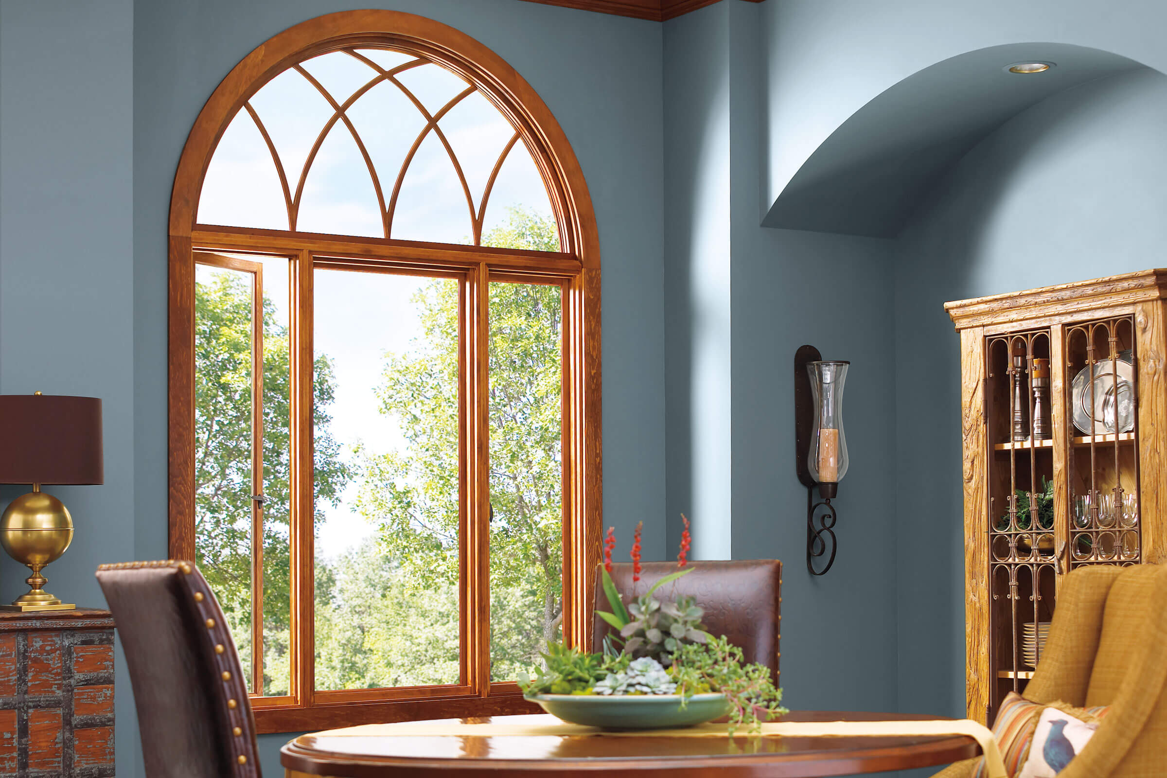 Blue Dining Room With Signature Ultimate Casement Push Out Windows
