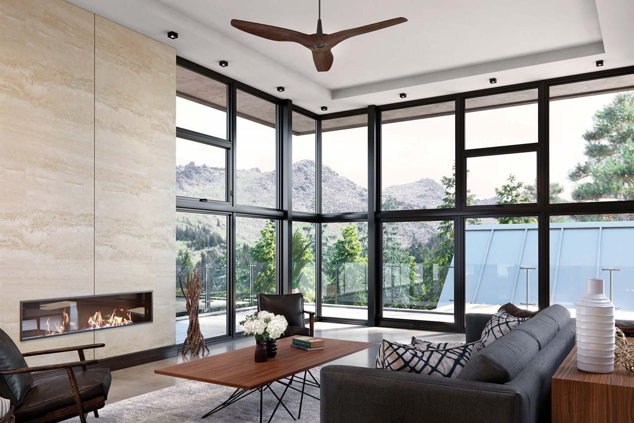 Contemporary Living Room With Signature Ultimate Corner Narrow Frame Windows