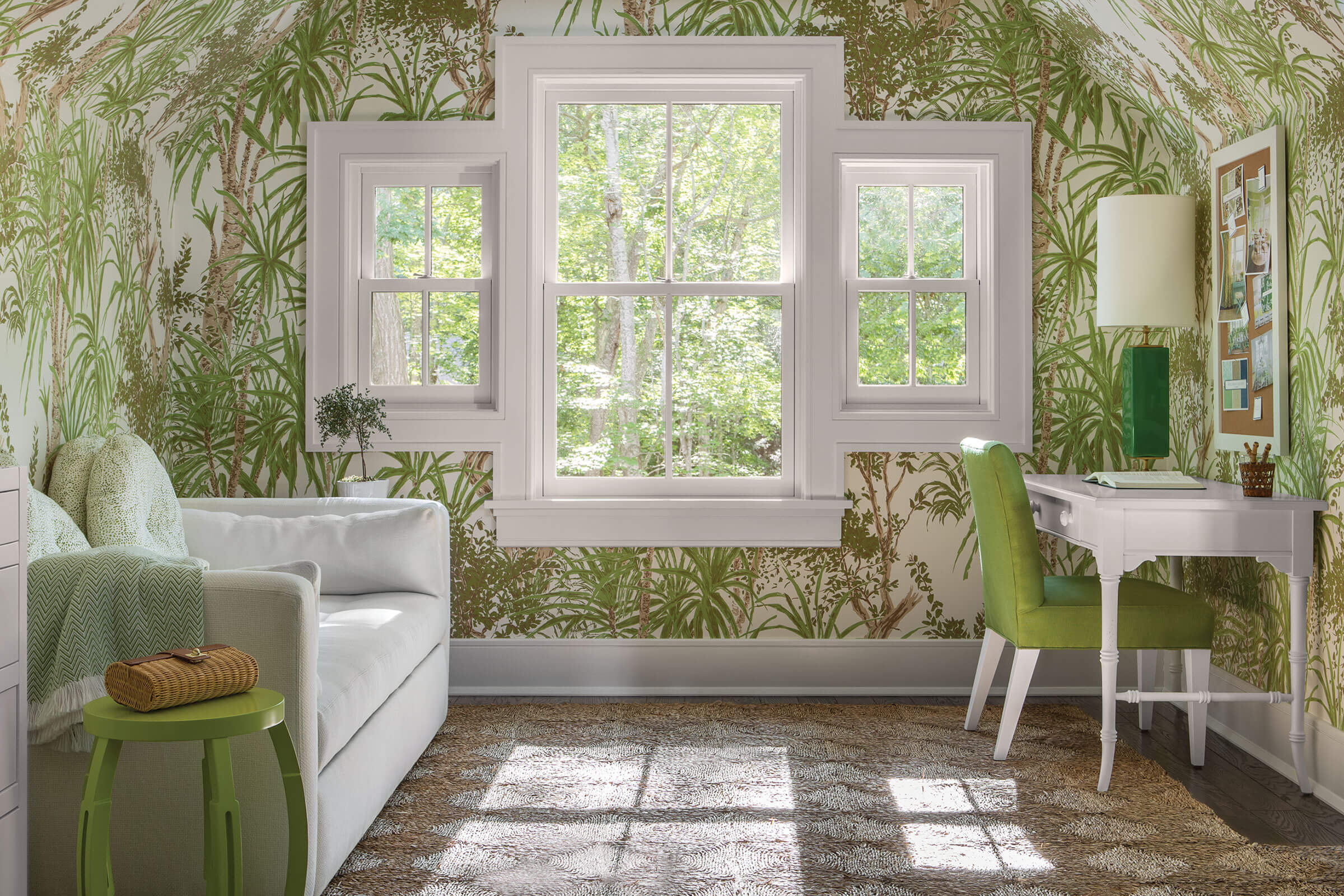 Palm Tree Wallpapered Room With Signature Ultimate Double Hung G2 Windows