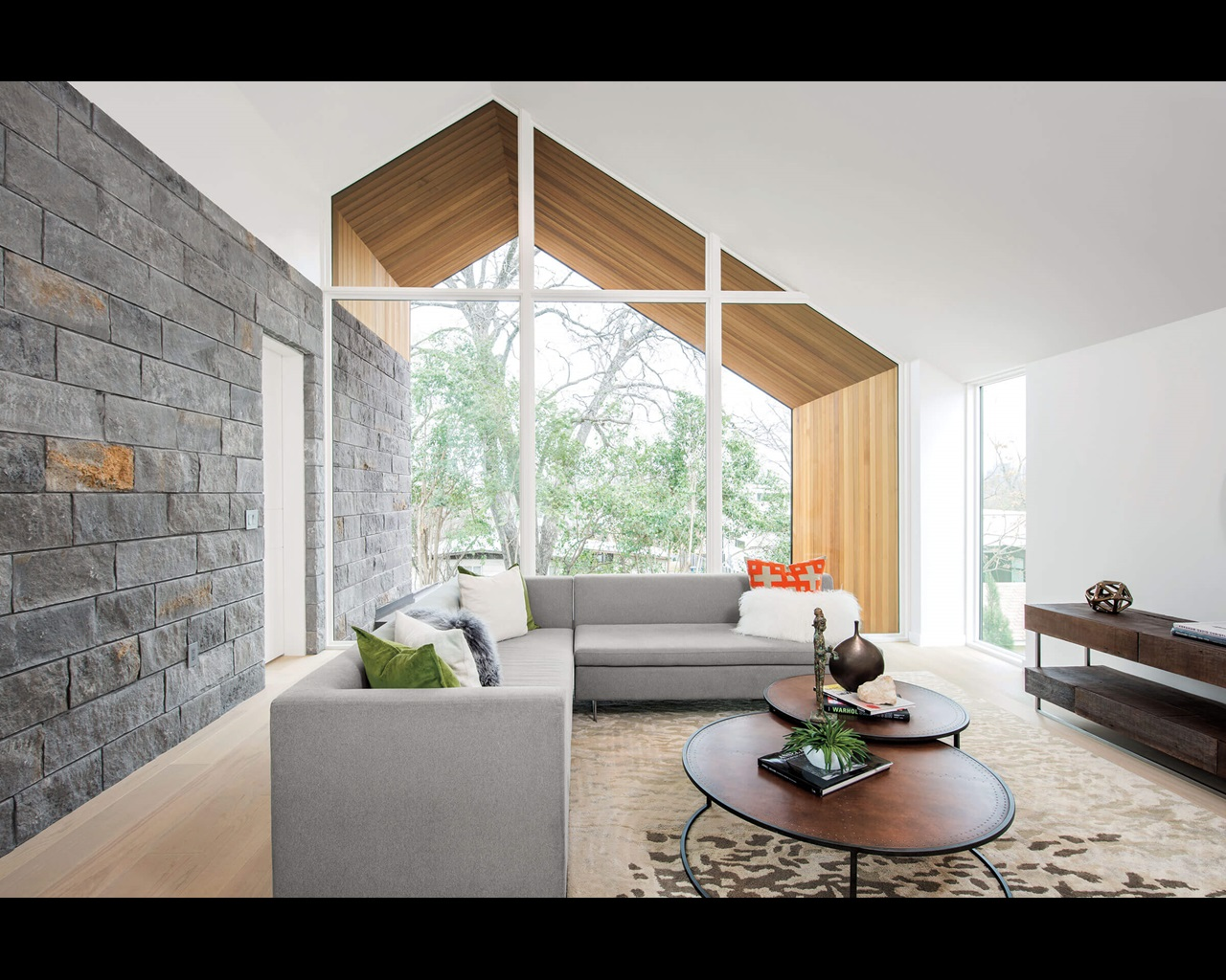 Living Room With Signature Ultimate Specialty Shapes Windows