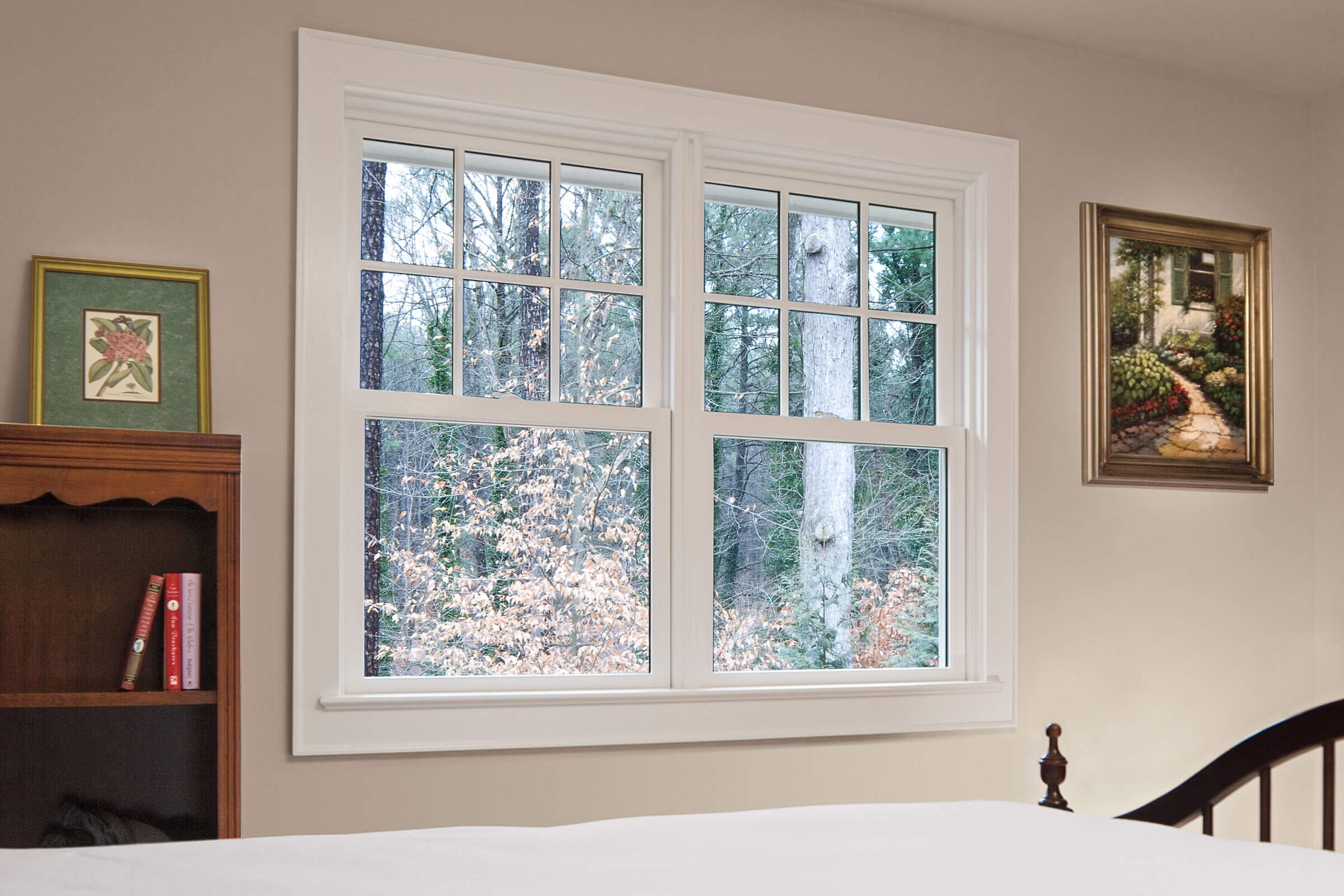 Bedroom With Signature Ultimate Wood Double Hung Insert Windows